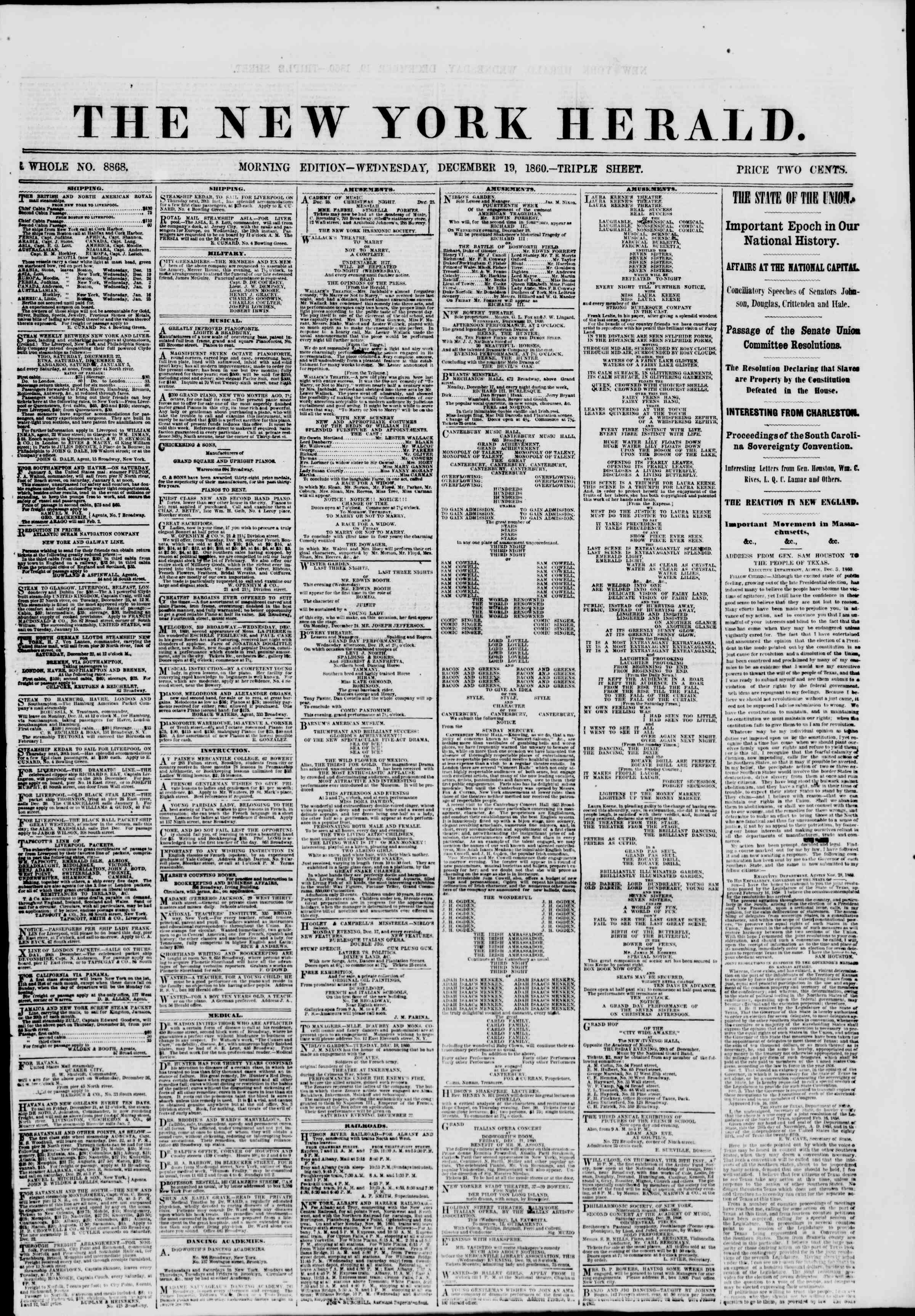 Newspaper of The New York Herald dated December 19, 1860 Page 1
