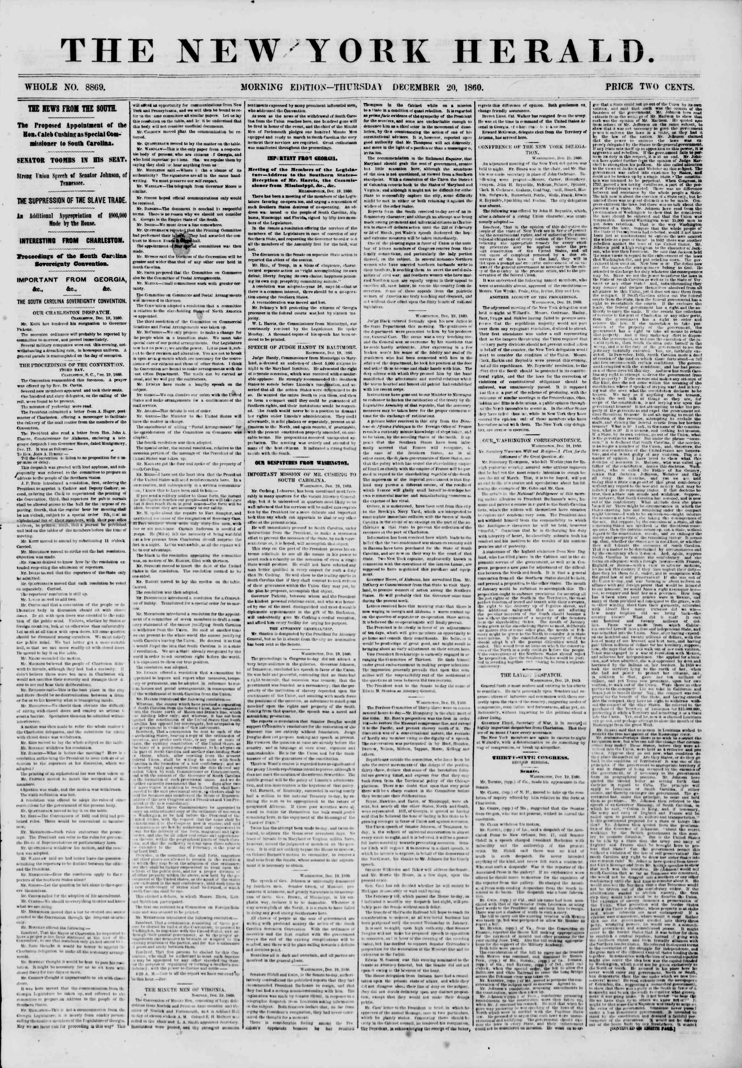 Newspaper of The New York Herald dated December 20, 1860 Page 1