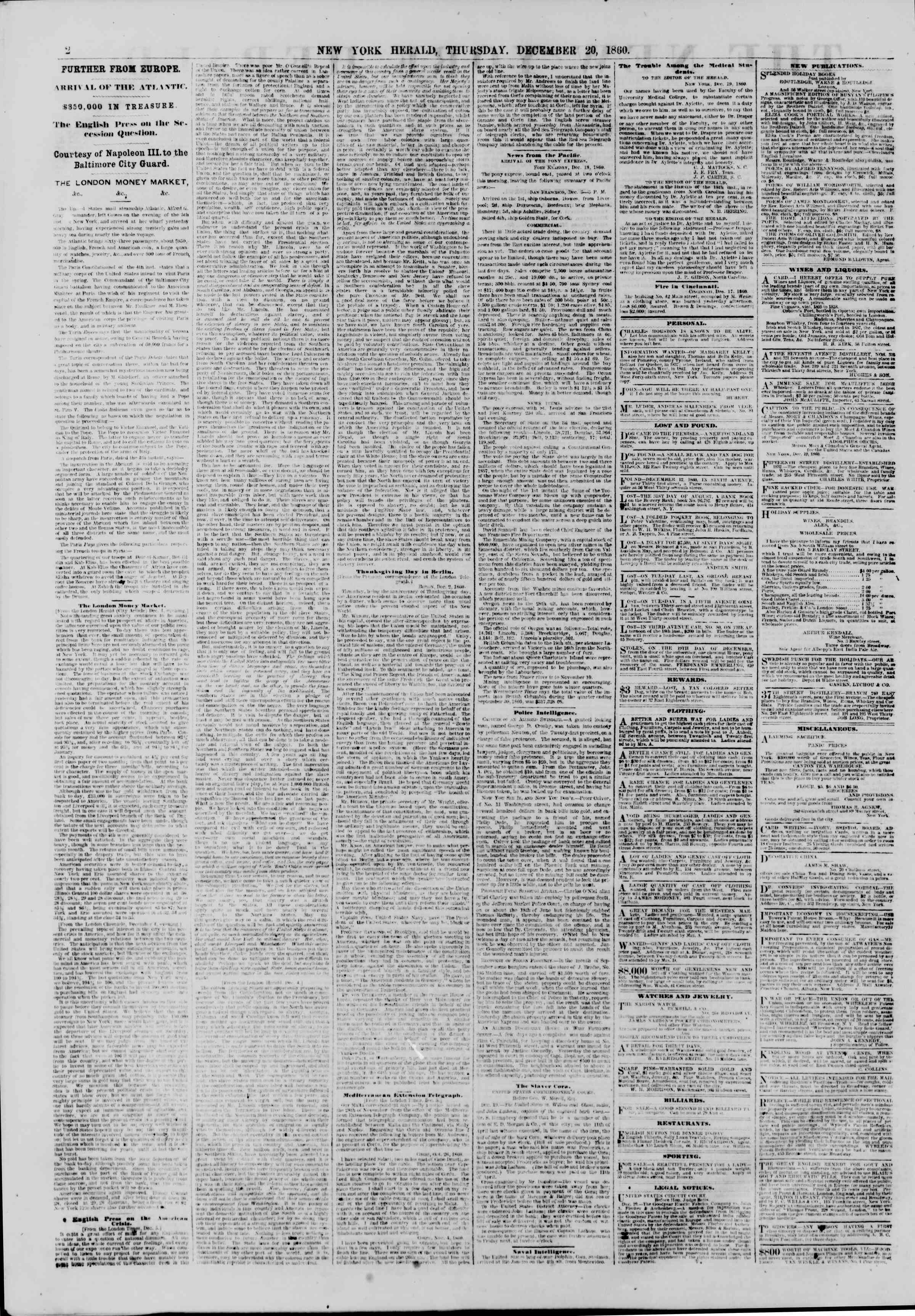 Newspaper of The New York Herald dated December 20, 1860 Page 2