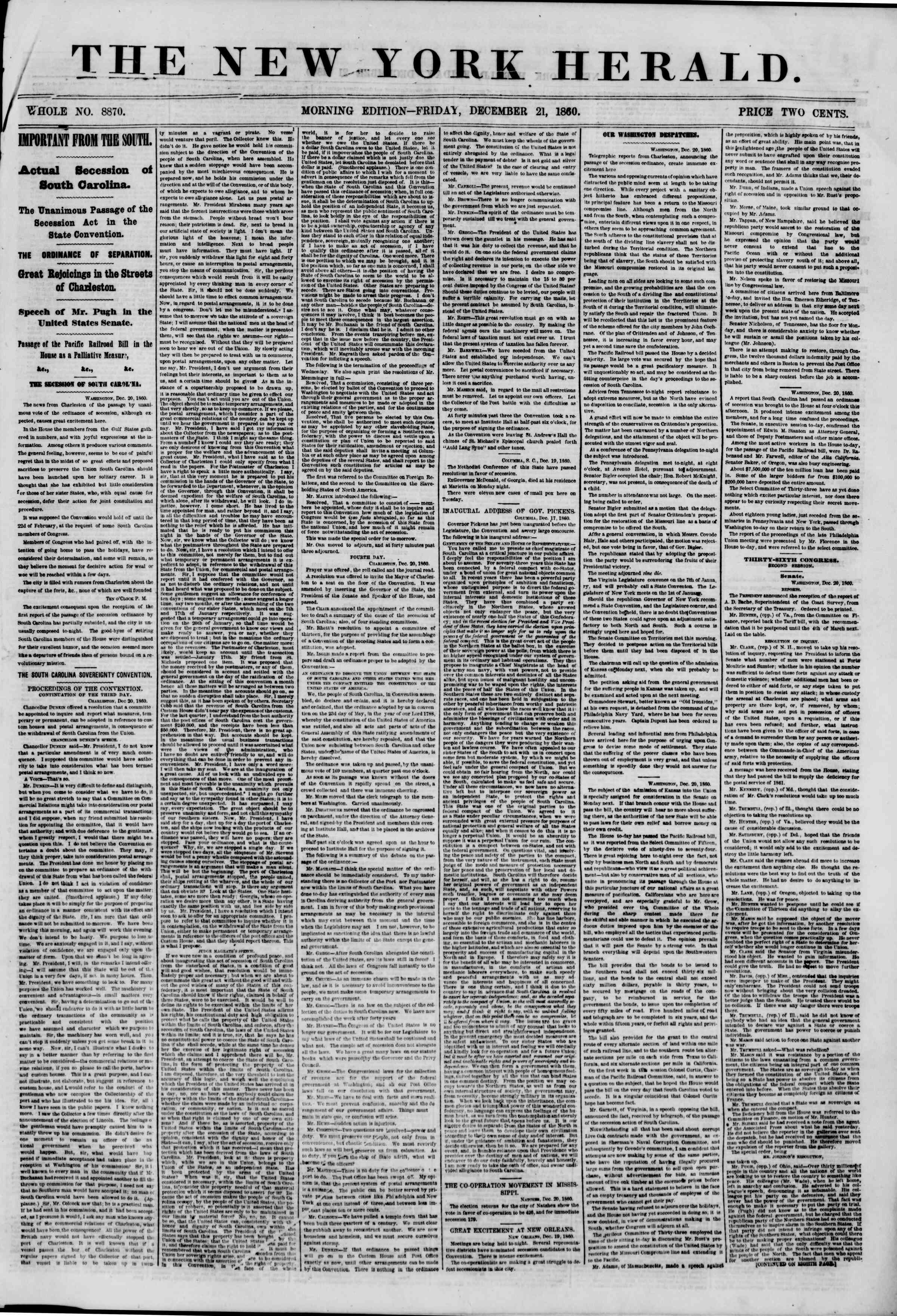 Newspaper of The New York Herald dated December 21, 1860 Page 1