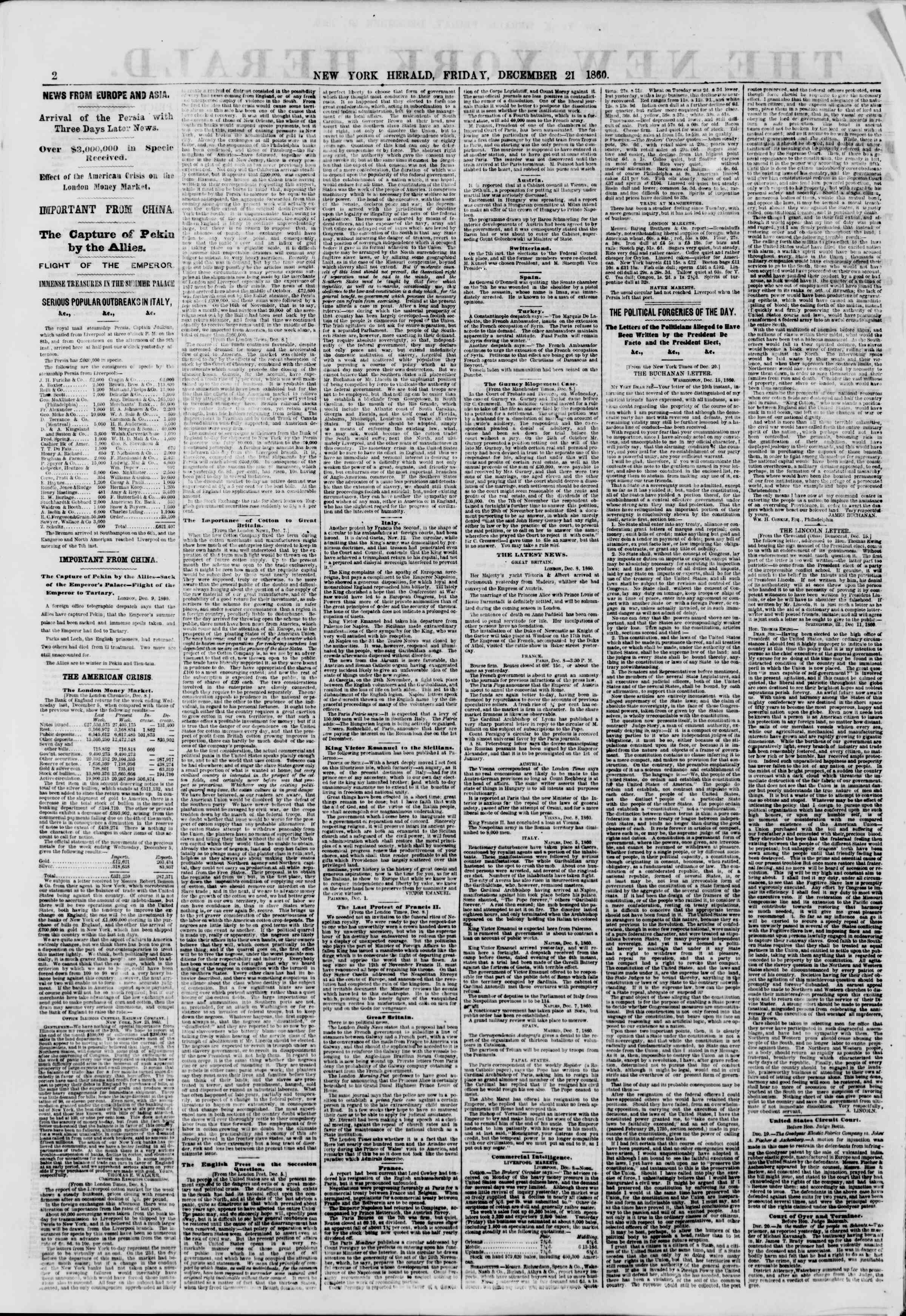 Newspaper of The New York Herald dated December 21, 1860 Page 2