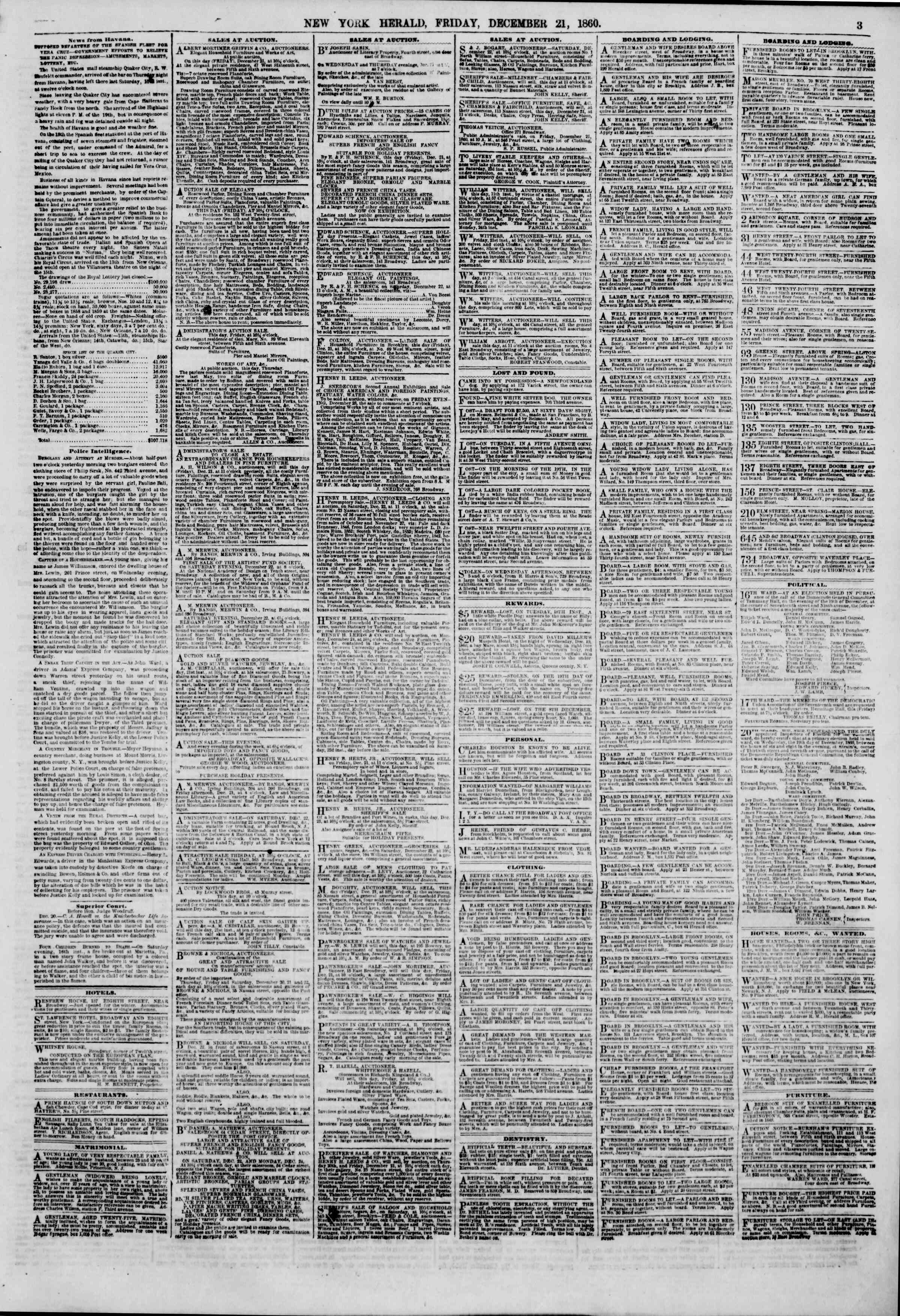 Newspaper of The New York Herald dated December 21, 1860 Page 3