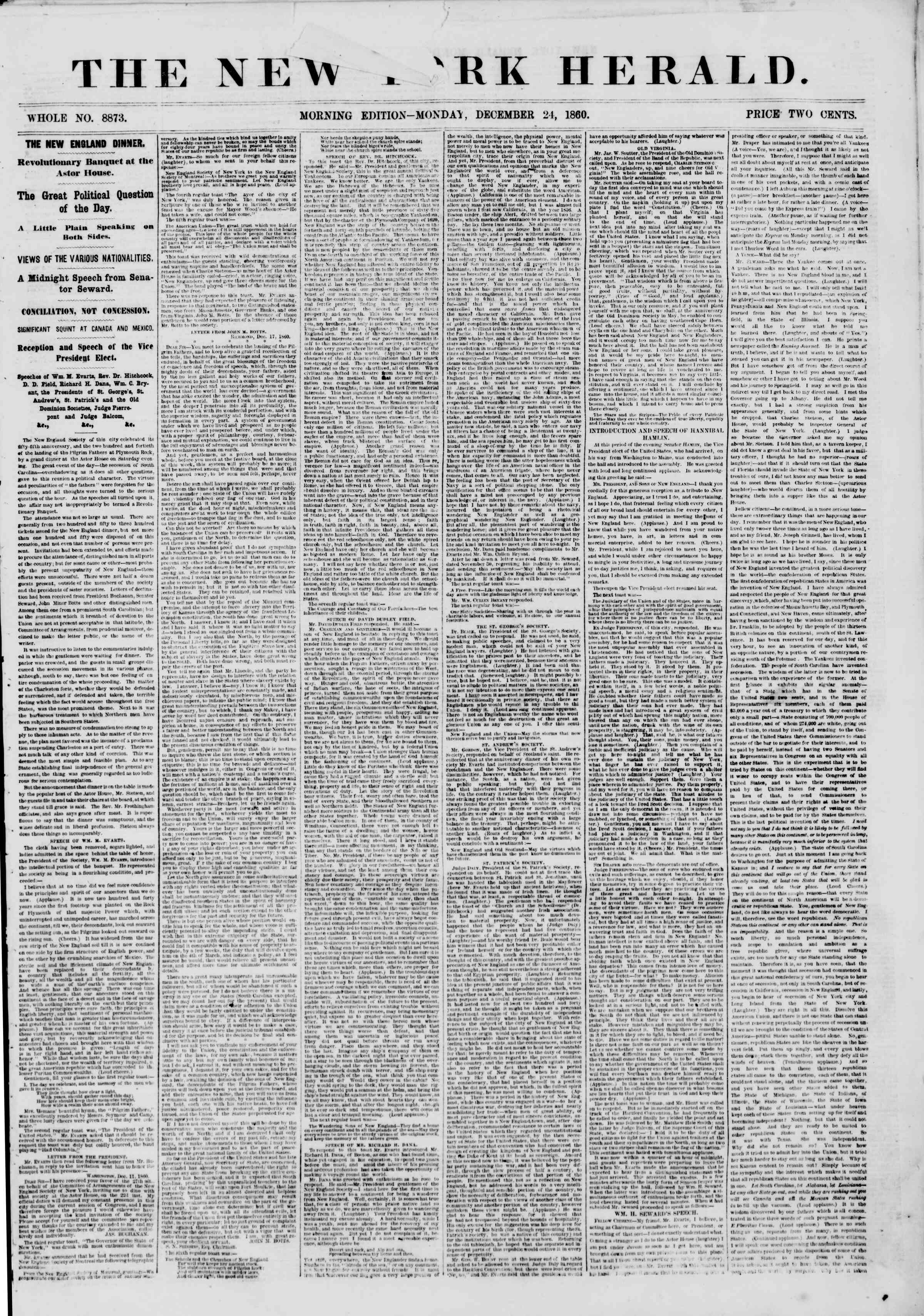 Newspaper of The New York Herald dated December 24, 1860 Page 1