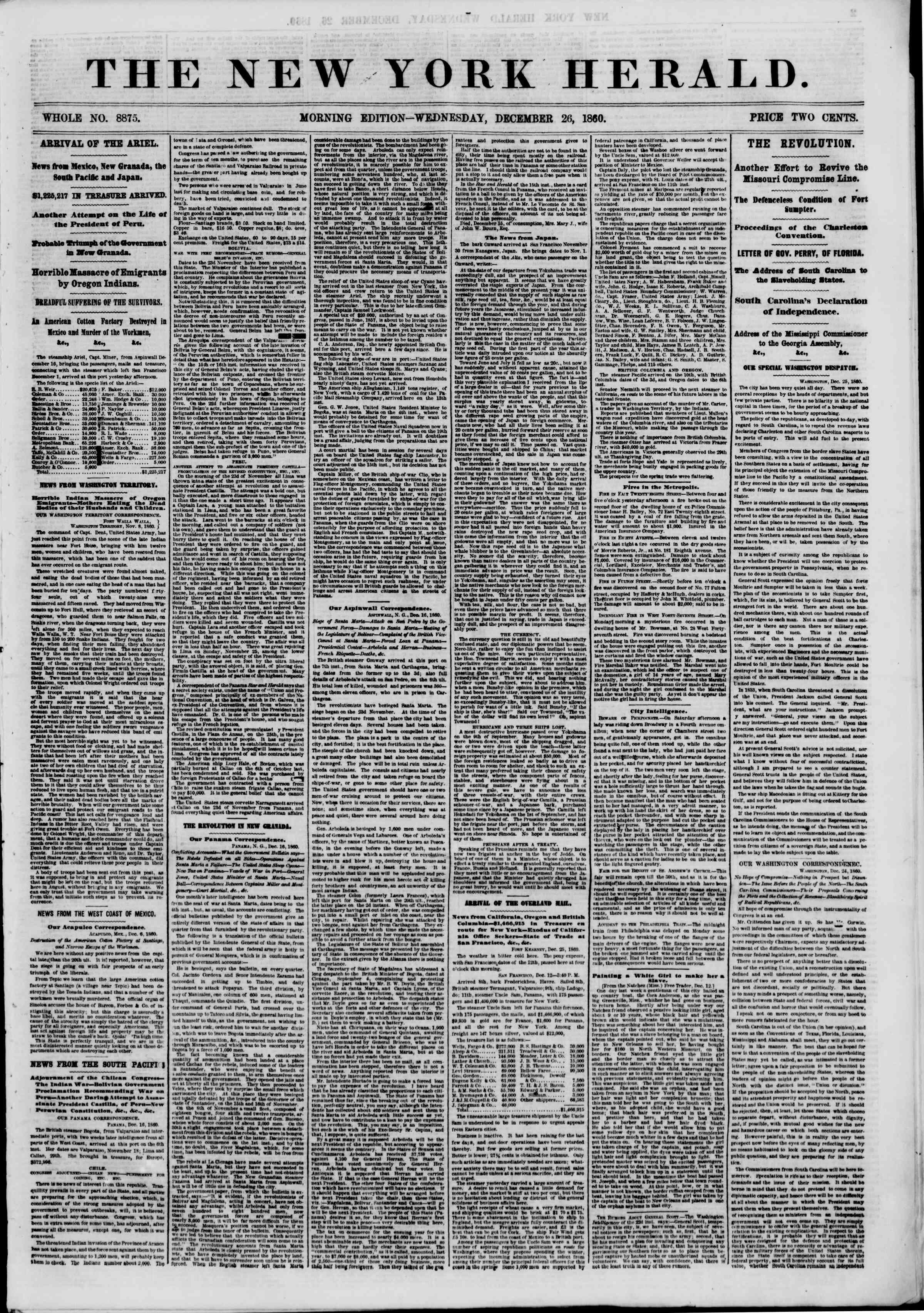 Newspaper of The New York Herald dated December 26, 1860 Page 1