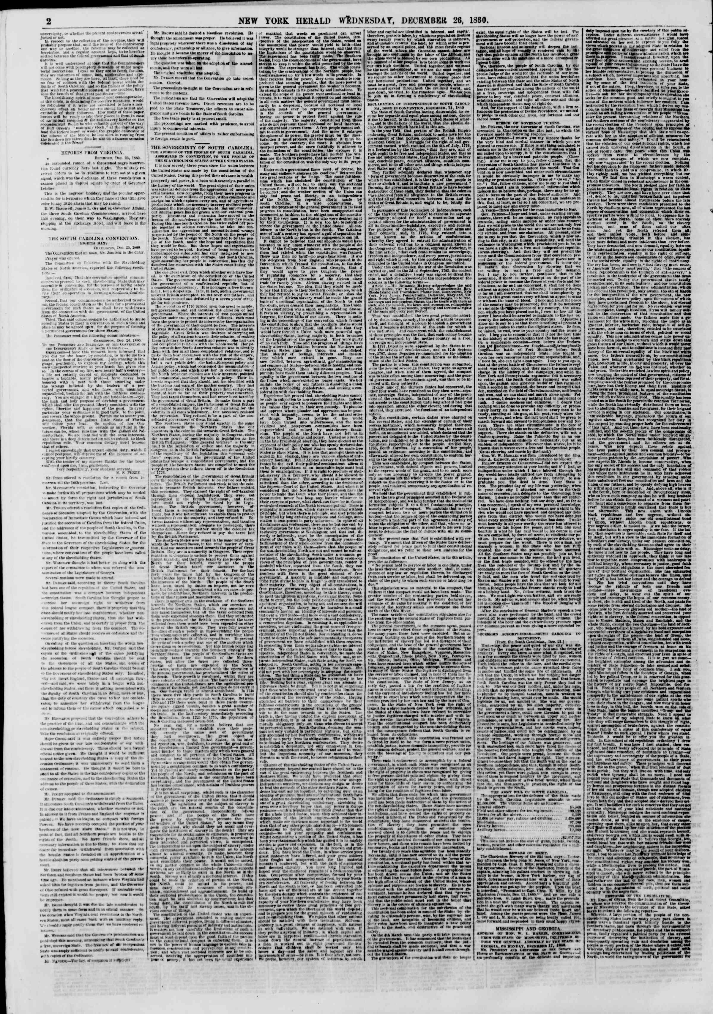 Newspaper of The New York Herald dated December 26, 1860 Page 2