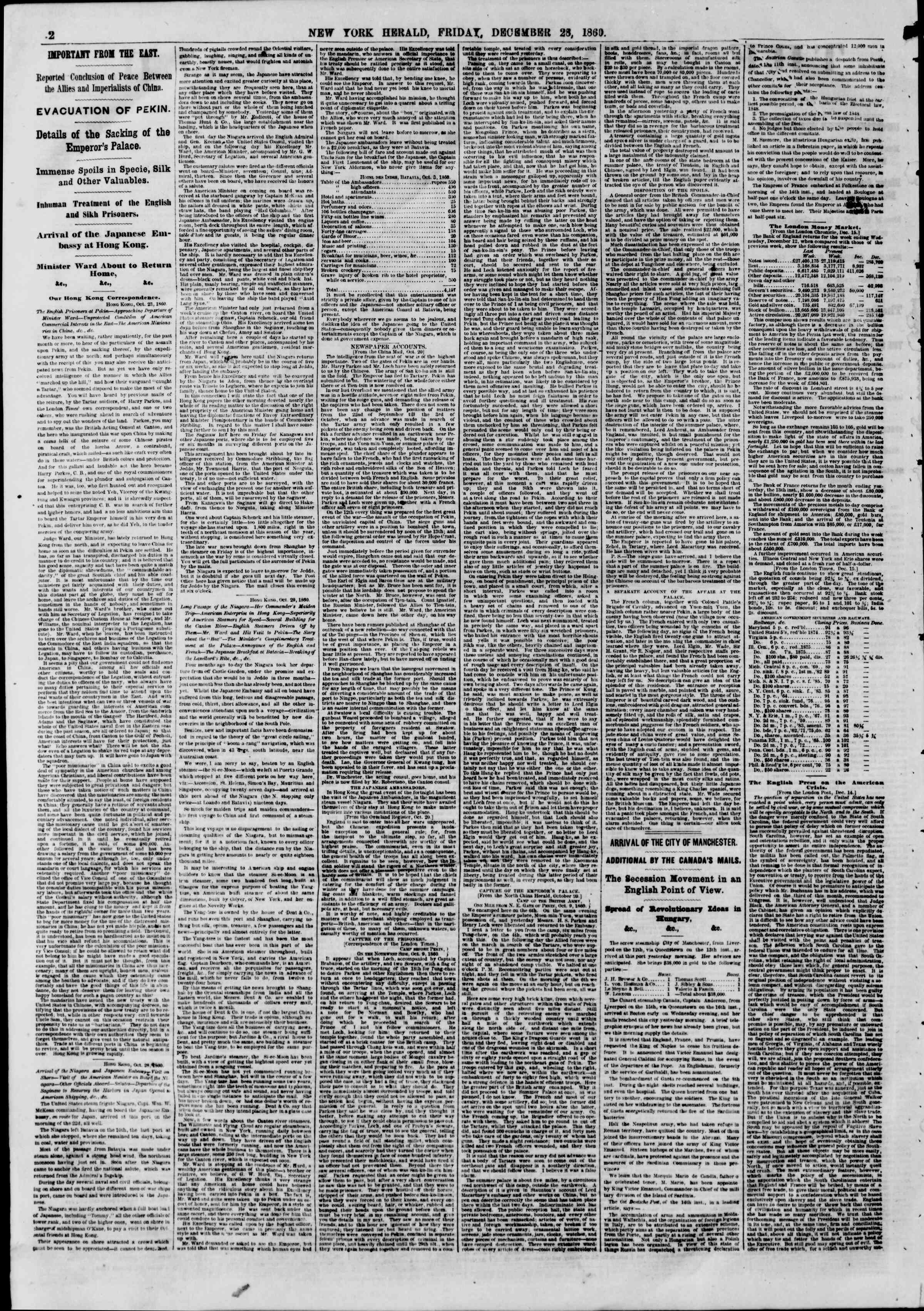 Newspaper of The New York Herald dated December 28, 1860 Page 2