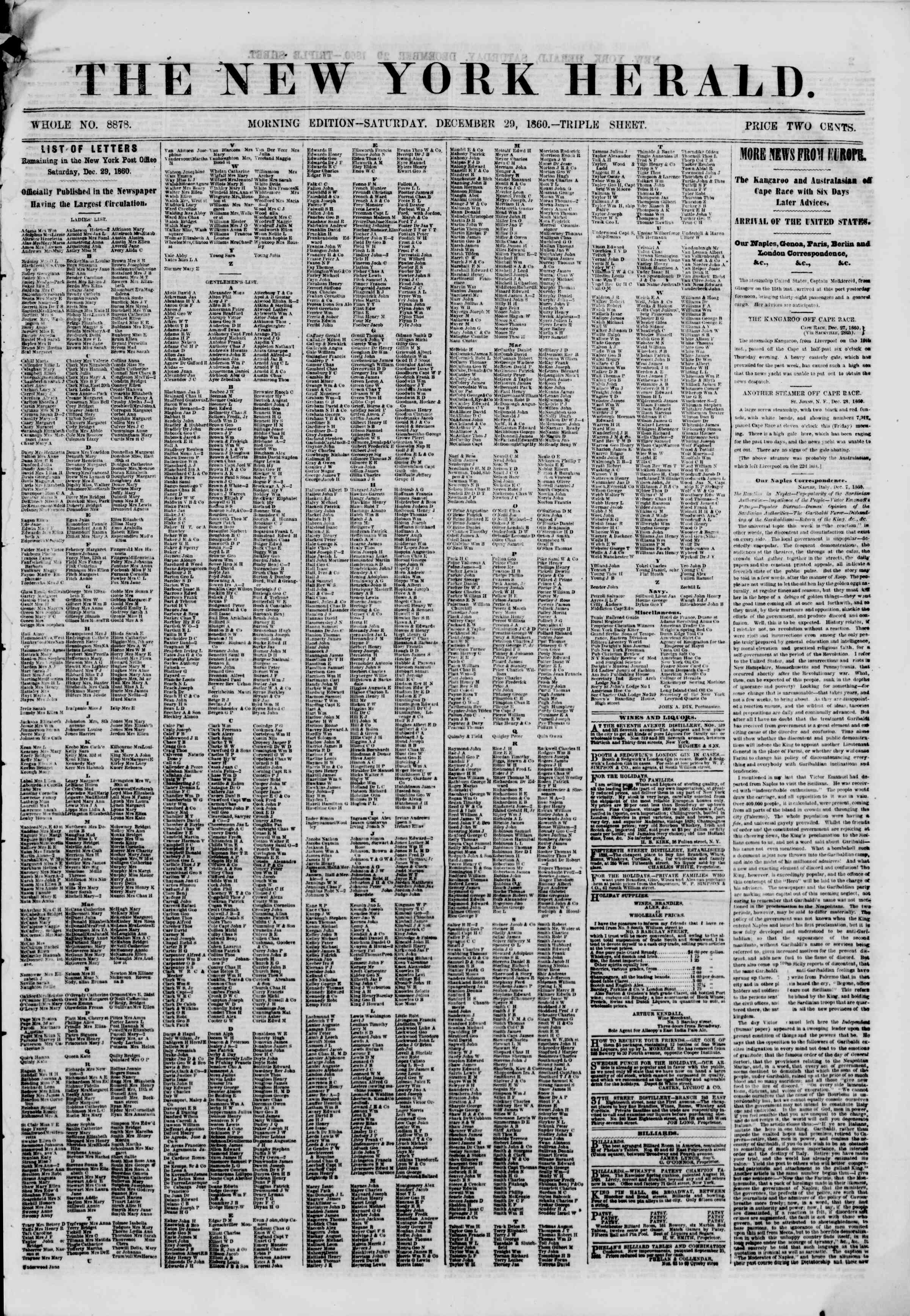 Newspaper of The New York Herald dated December 29, 1860 Page 1