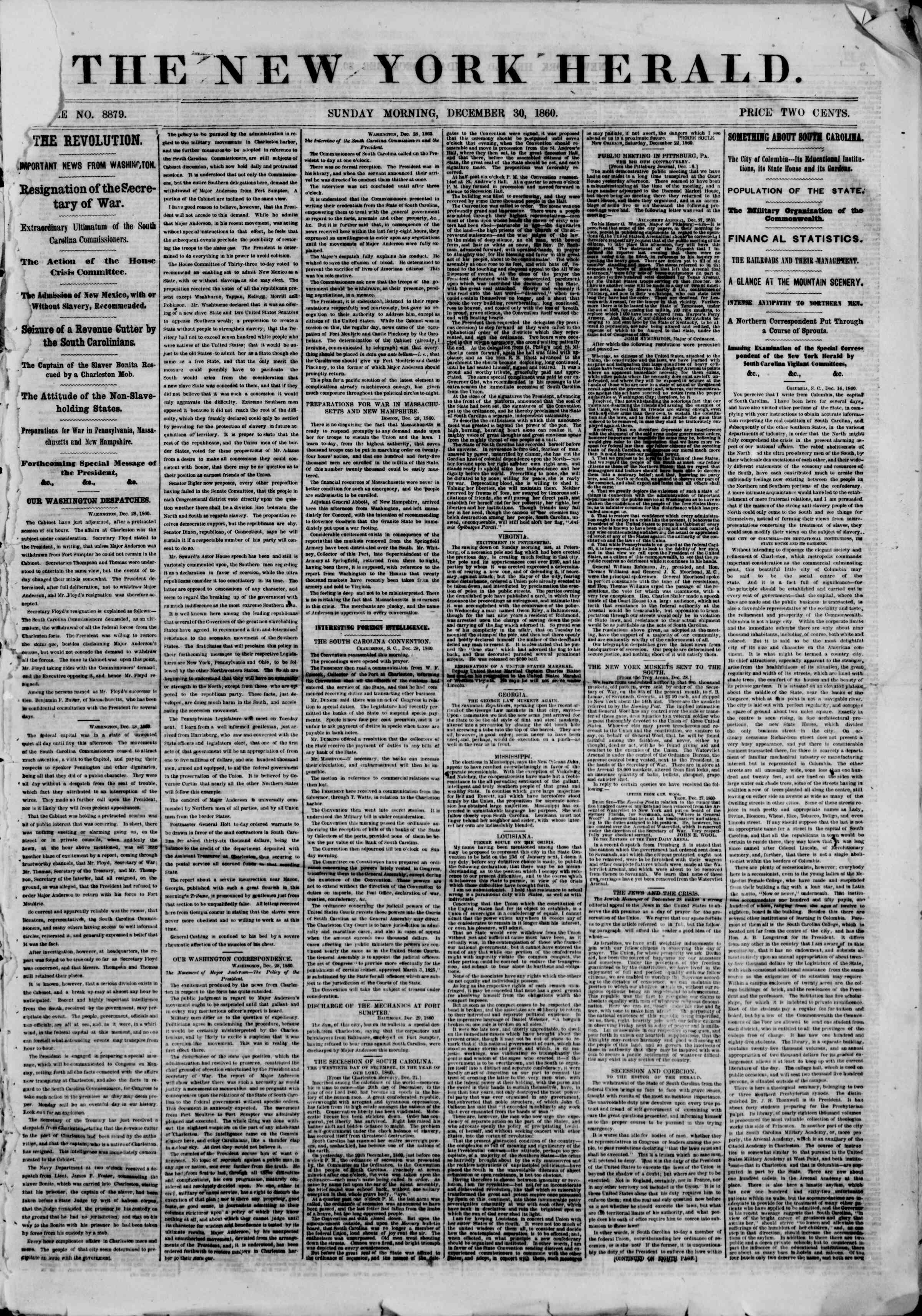 Newspaper of The New York Herald dated December 30, 1860 Page 1