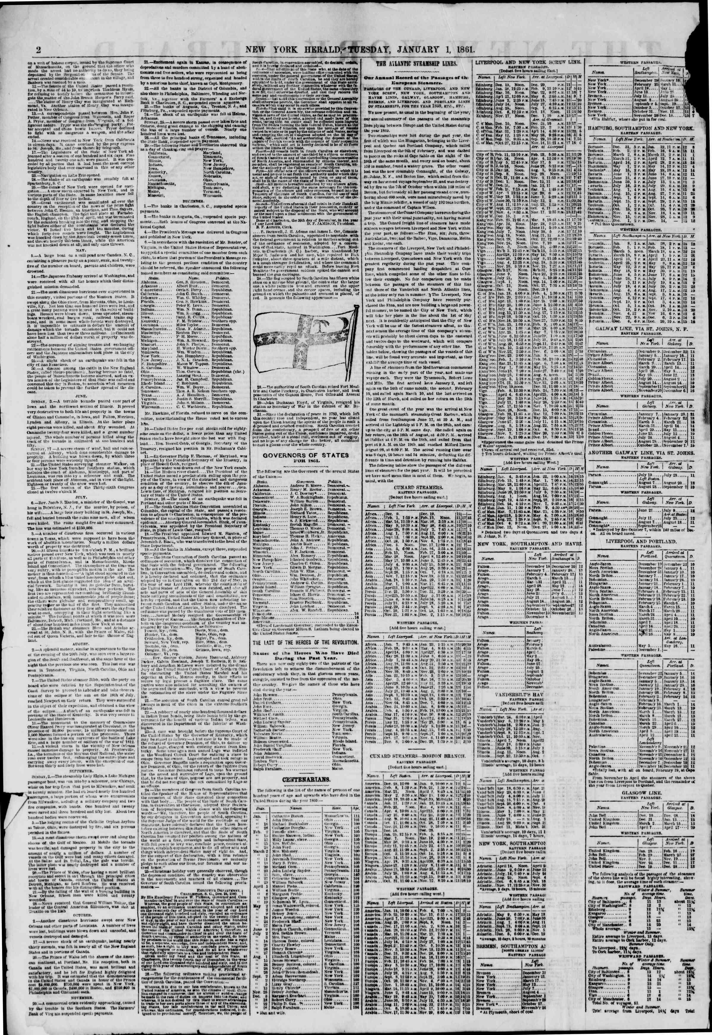 Newspaper of The New York Herald dated January 1, 1861 Page 2