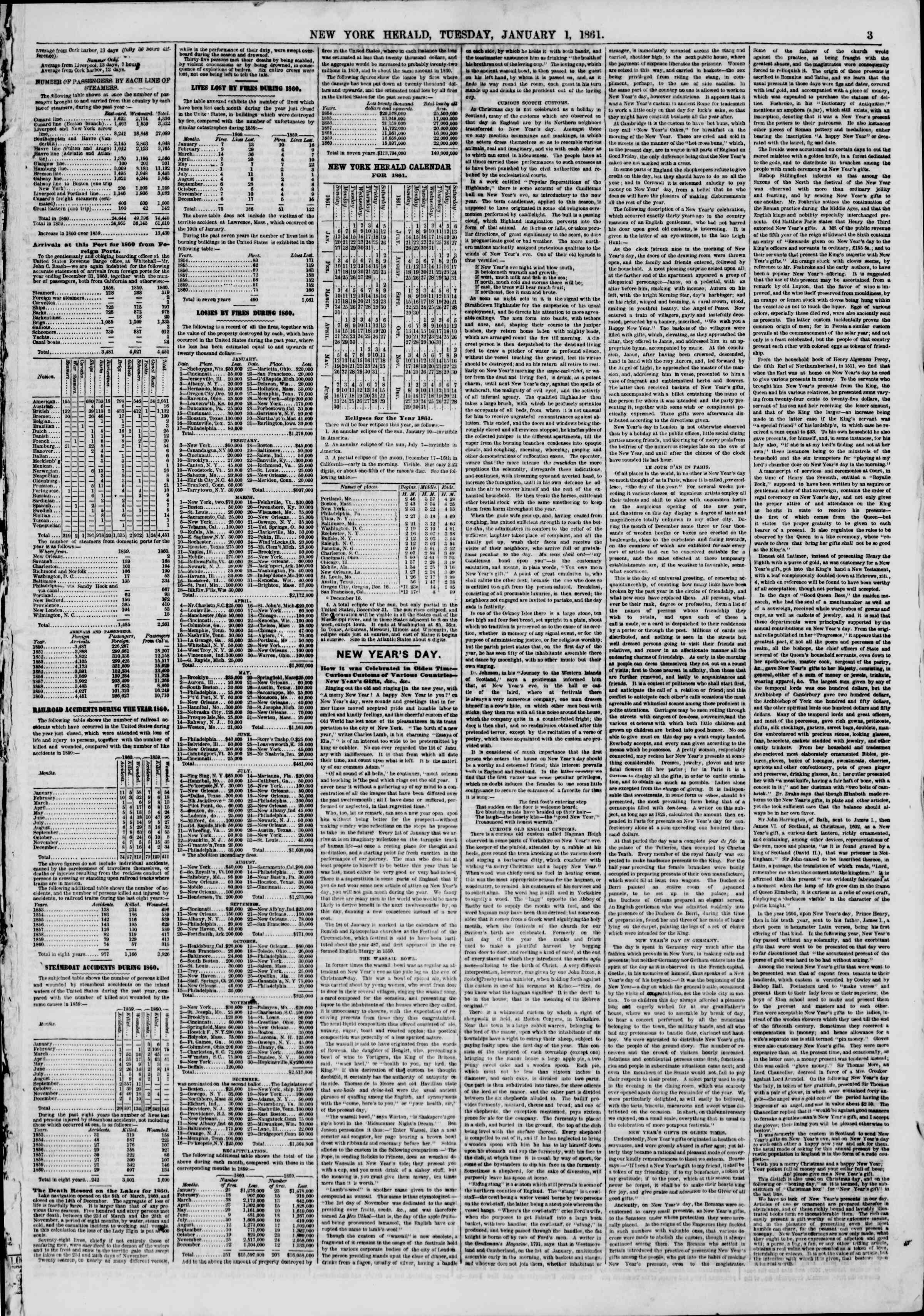 Newspaper of The New York Herald dated January 1, 1861 Page 3