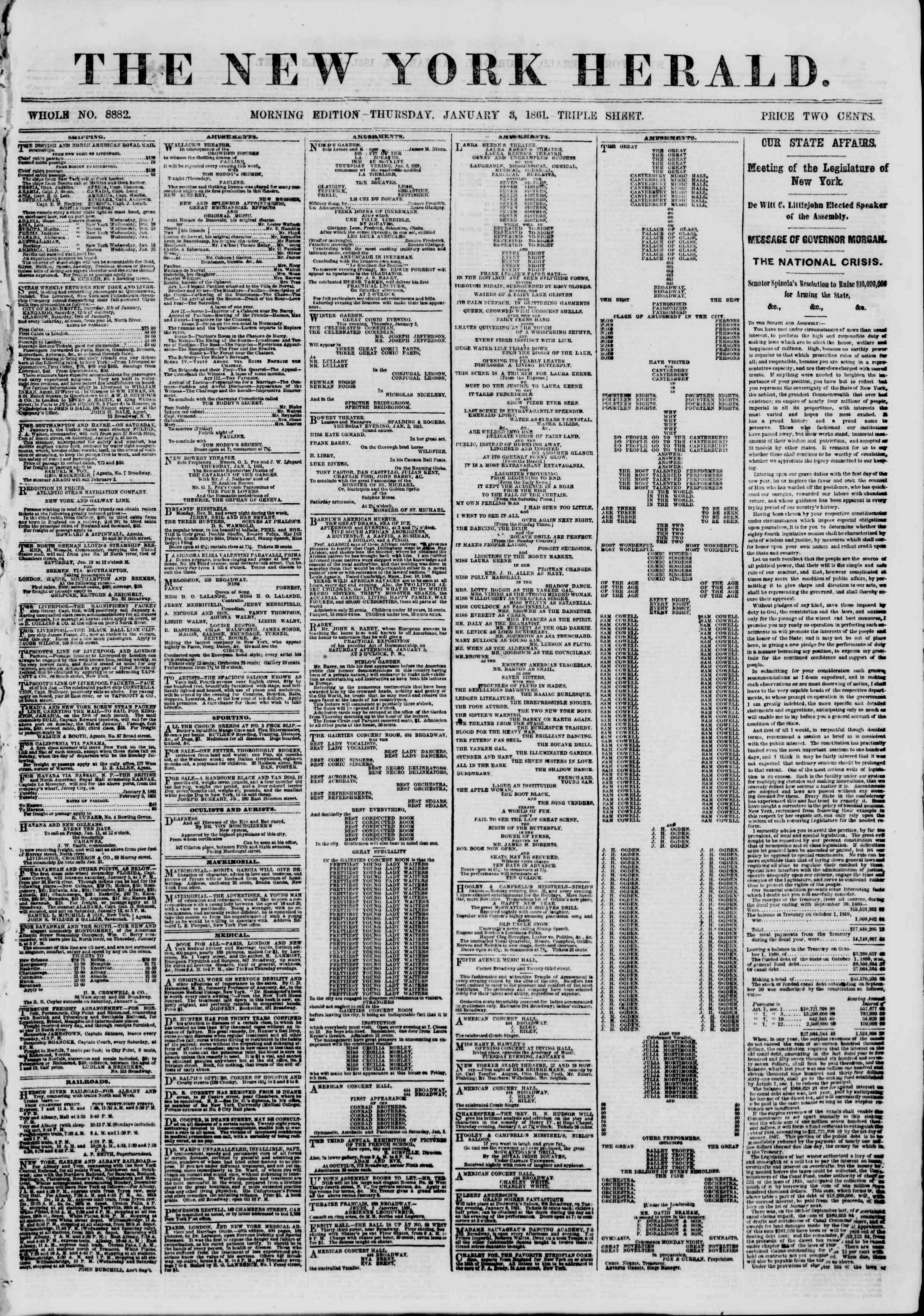 Newspaper of The New York Herald dated January 3, 1861 Page 1