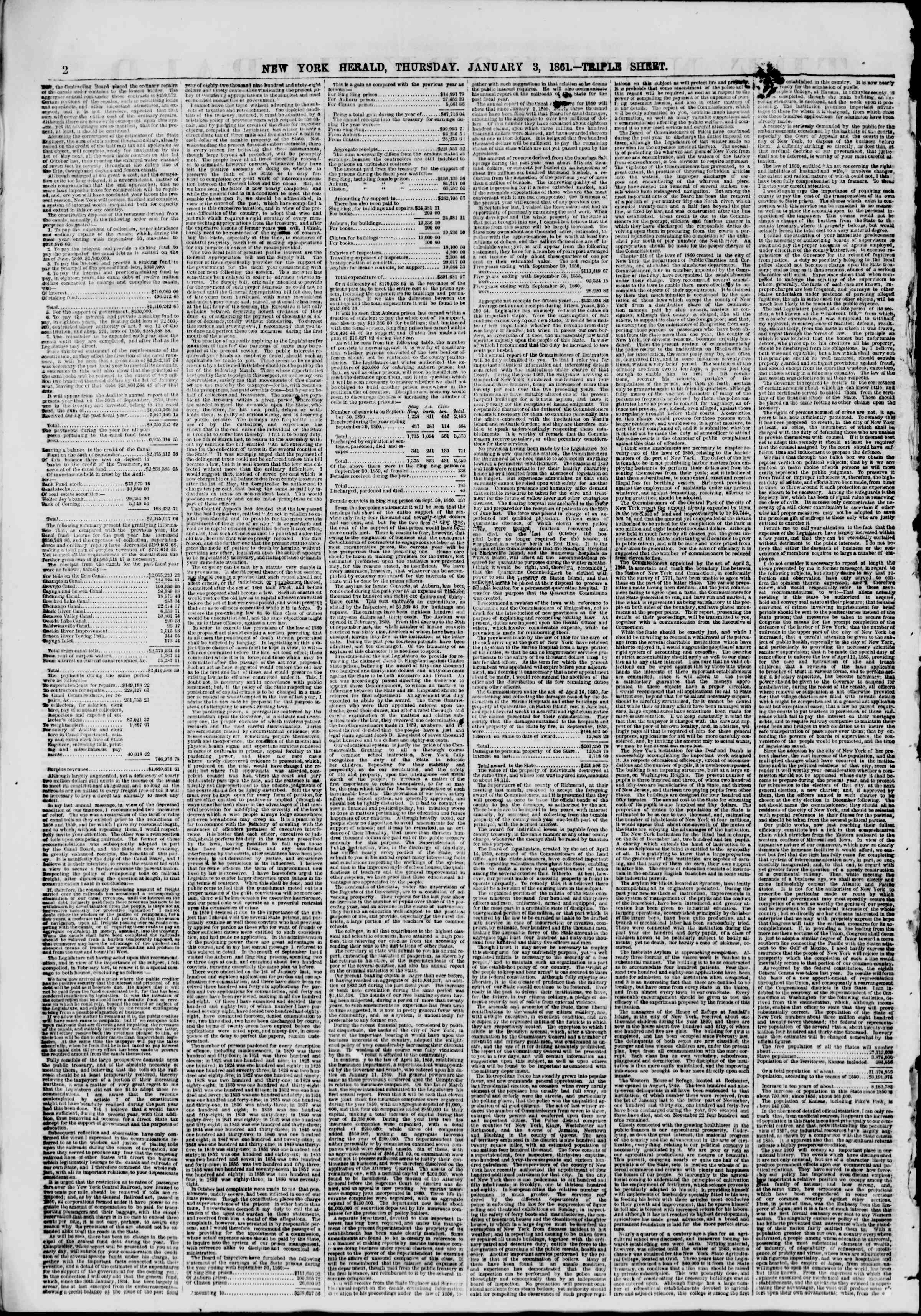 Newspaper of The New York Herald dated January 3, 1861 Page 2
