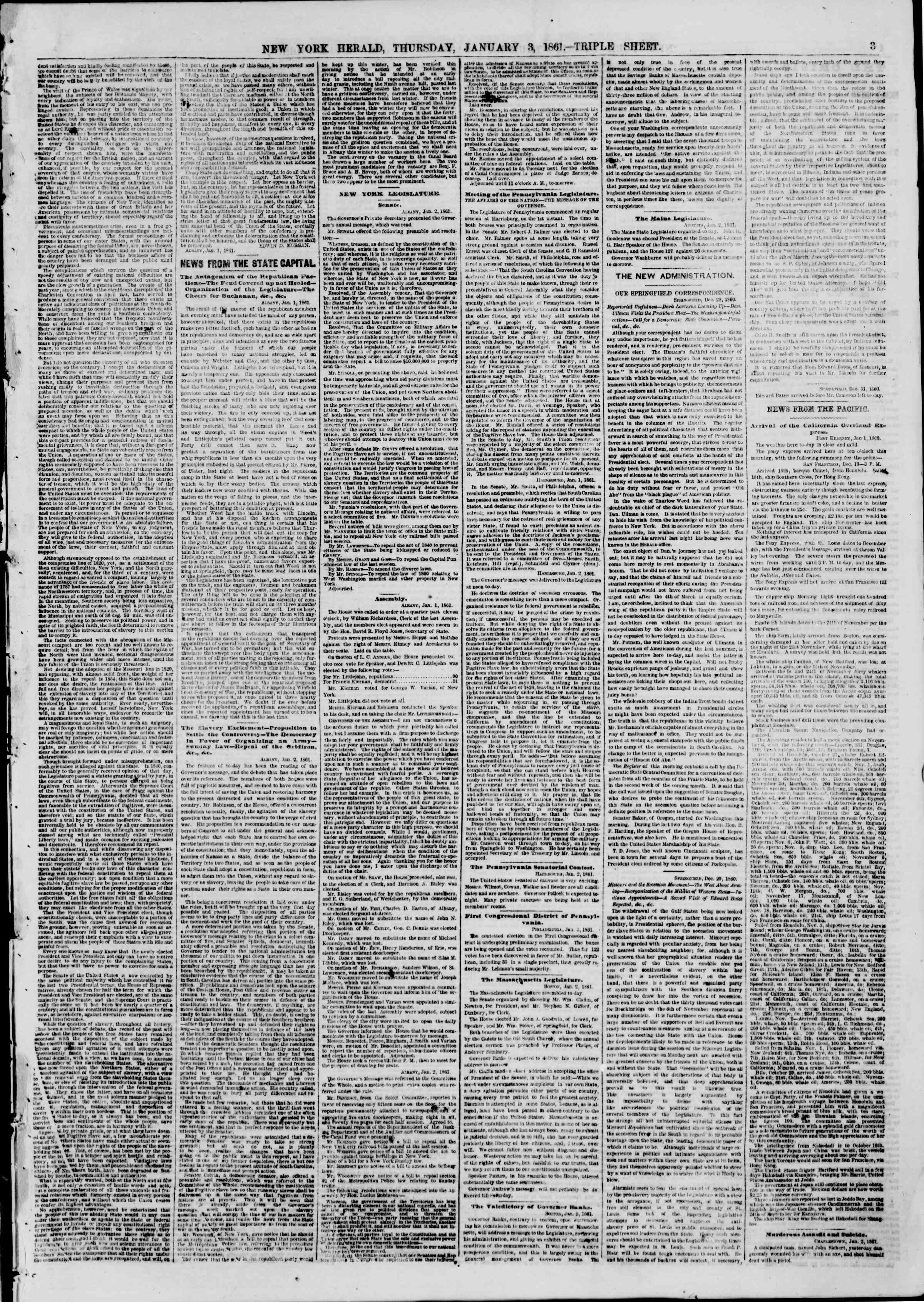 Newspaper of The New York Herald dated January 3, 1861 Page 3