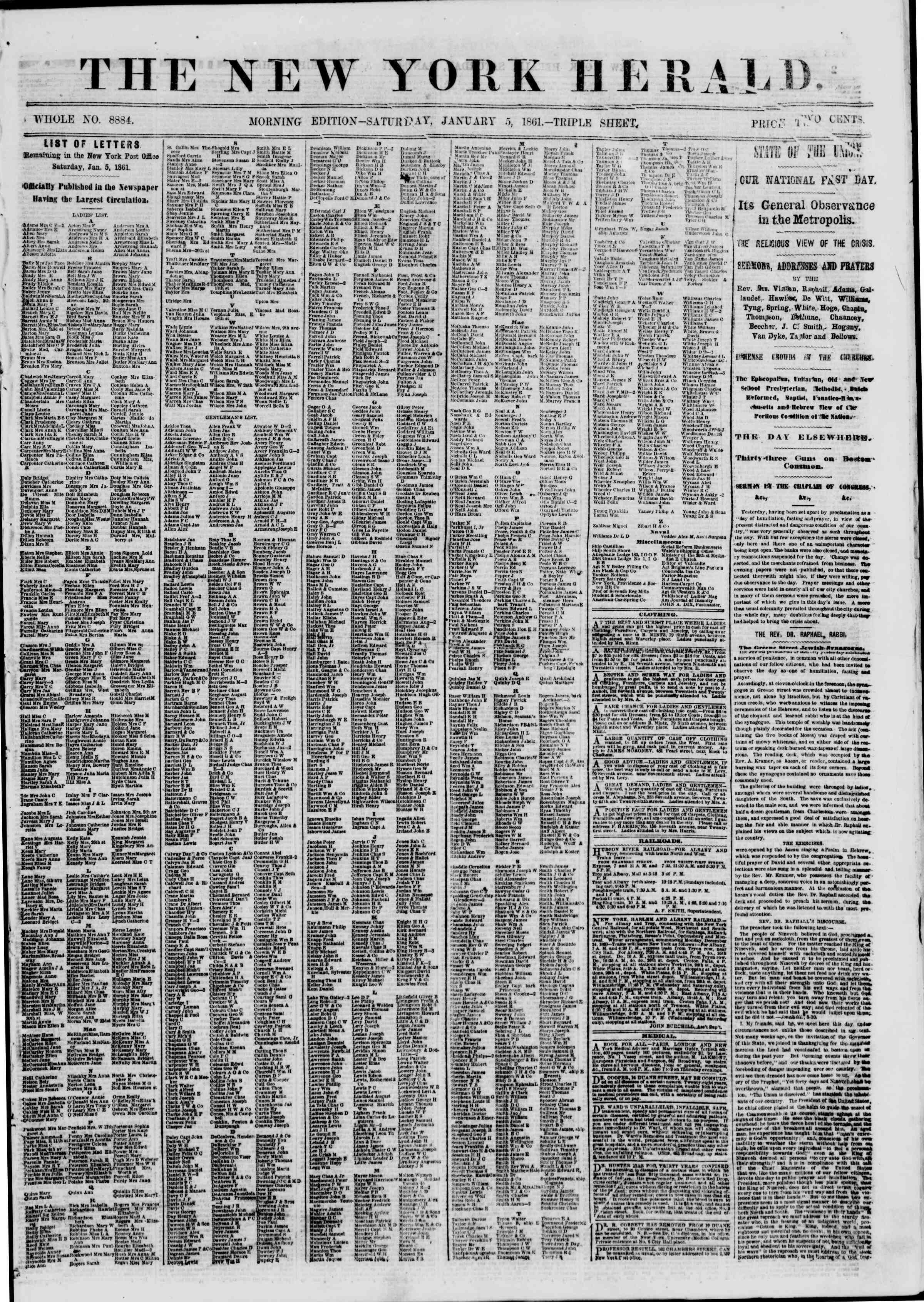Newspaper of The New York Herald dated January 5, 1861 Page 1