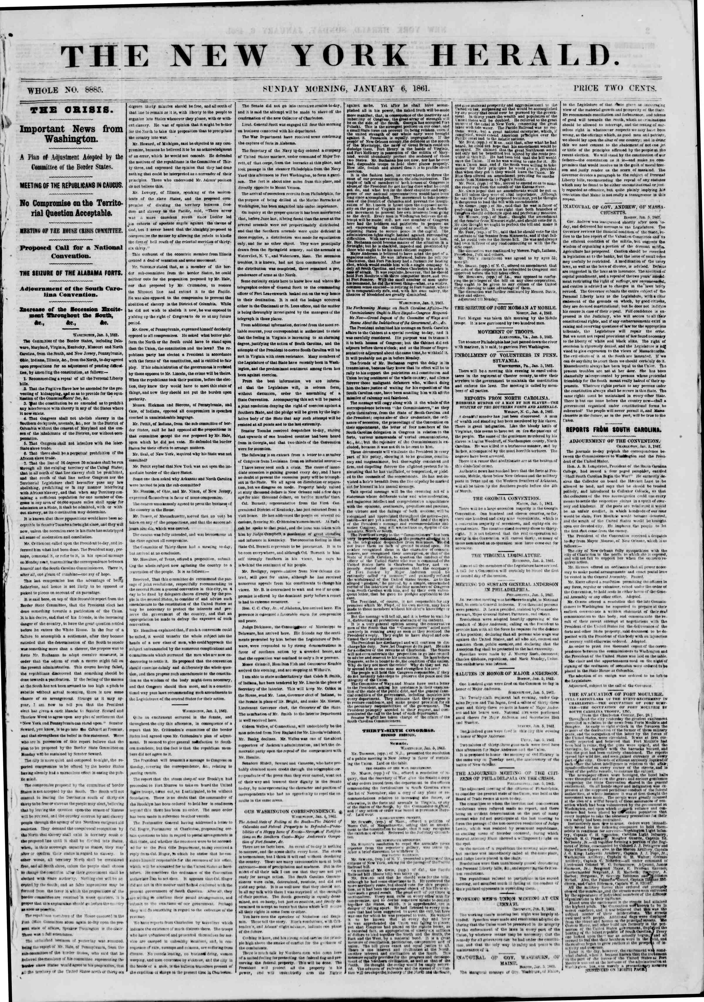 Newspaper of The New York Herald dated January 6, 1861 Page 1