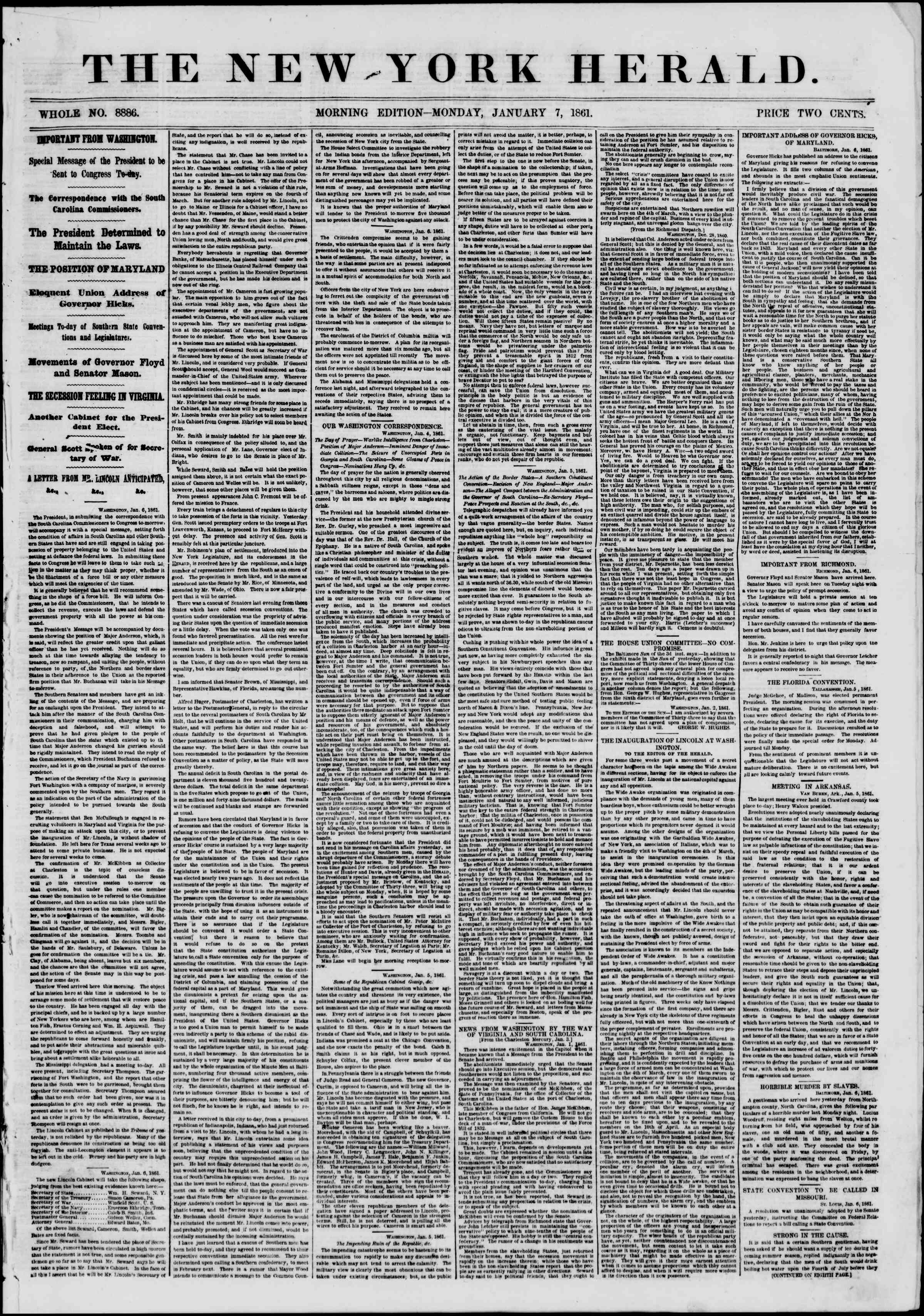 Newspaper of The New York Herald dated January 7, 1861 Page 1