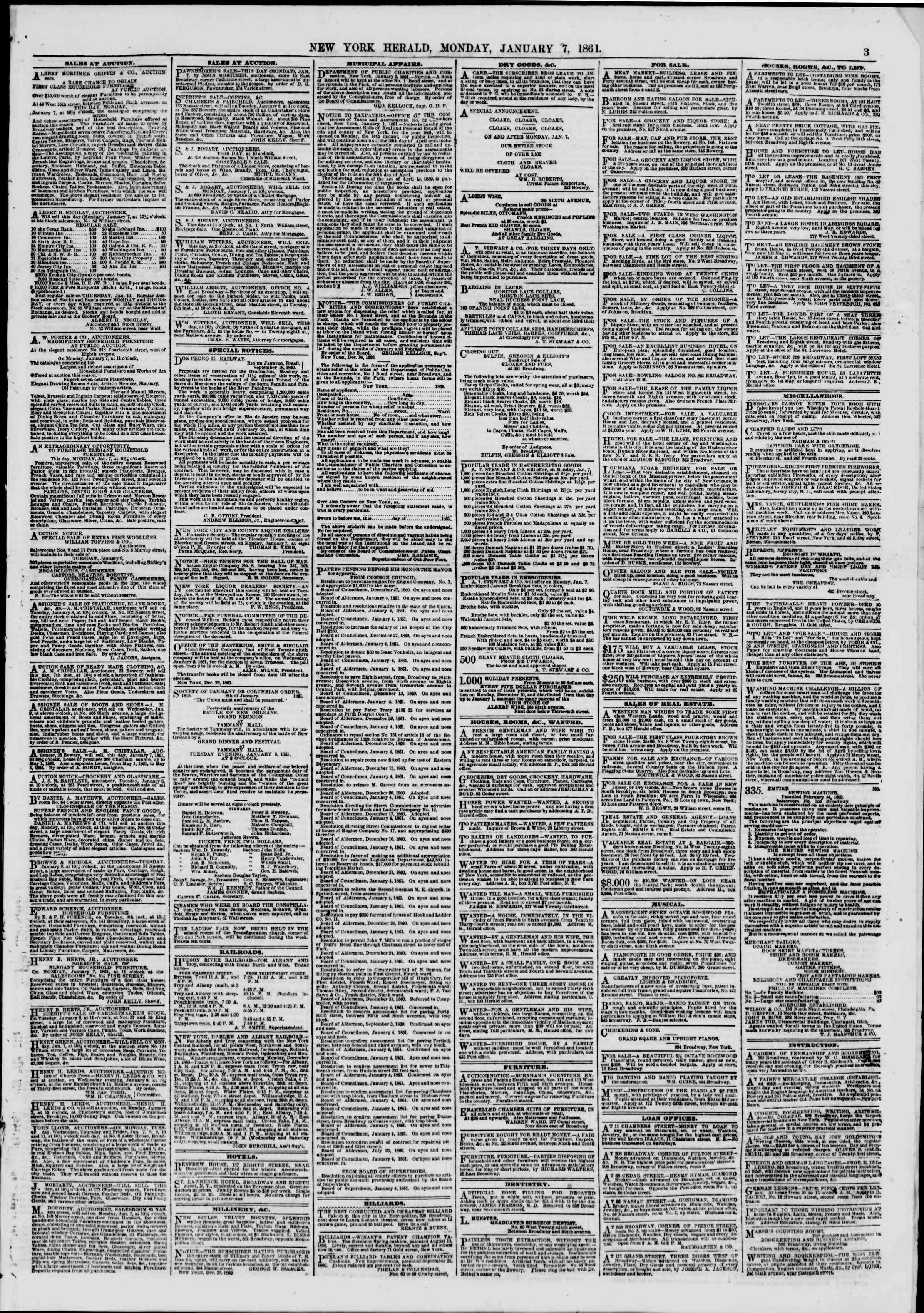 Newspaper of The New York Herald dated January 7, 1861 Page 3