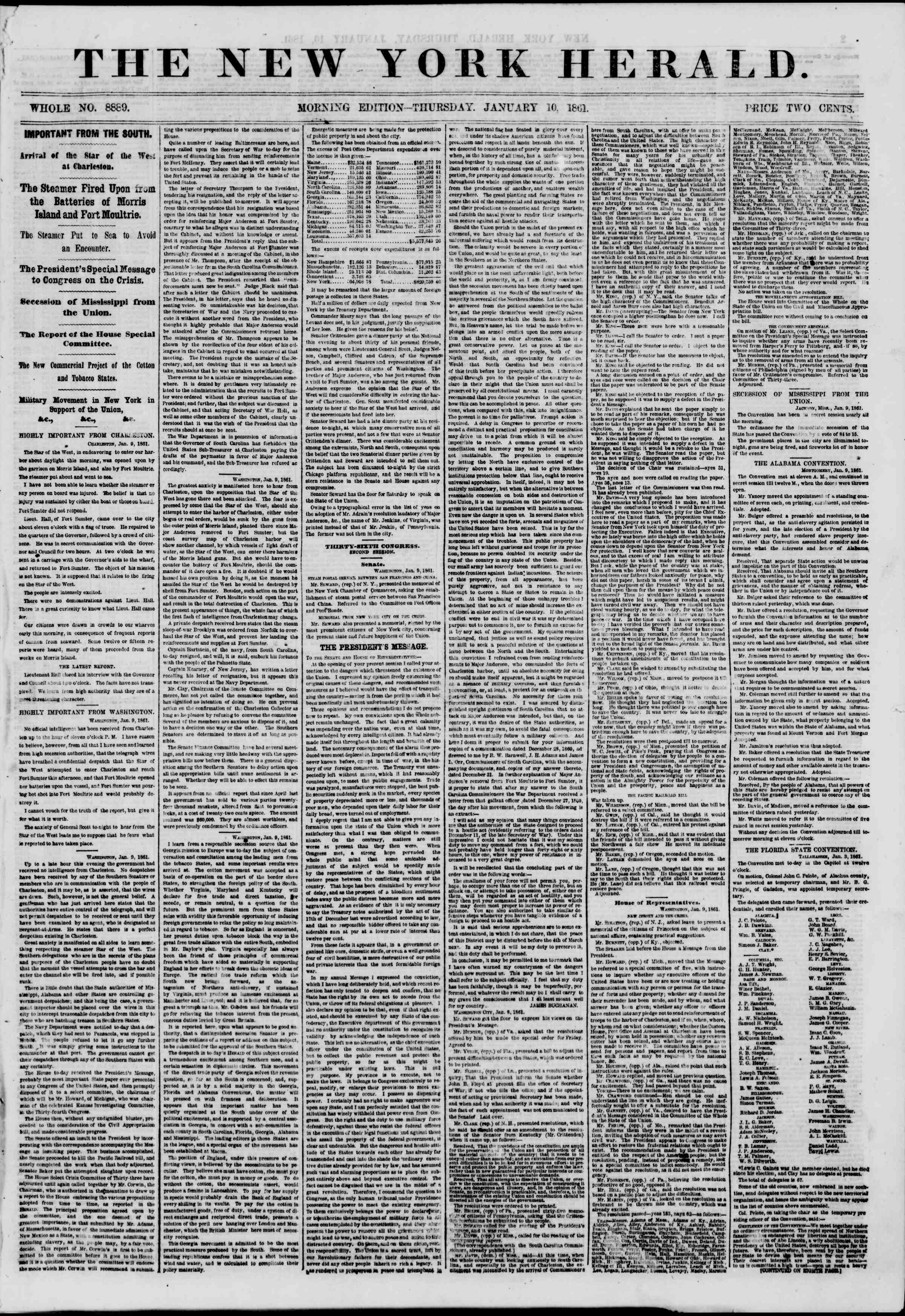 Newspaper of The New York Herald dated January 10, 1861 Page 1