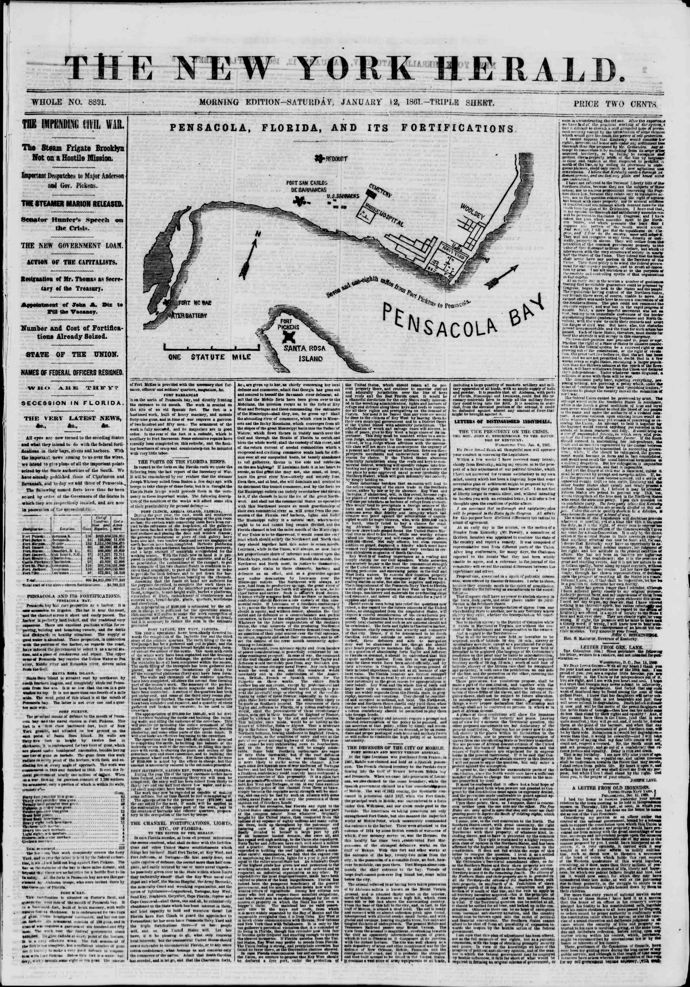 Newspaper of The New York Herald dated January 12, 1861 Page 1