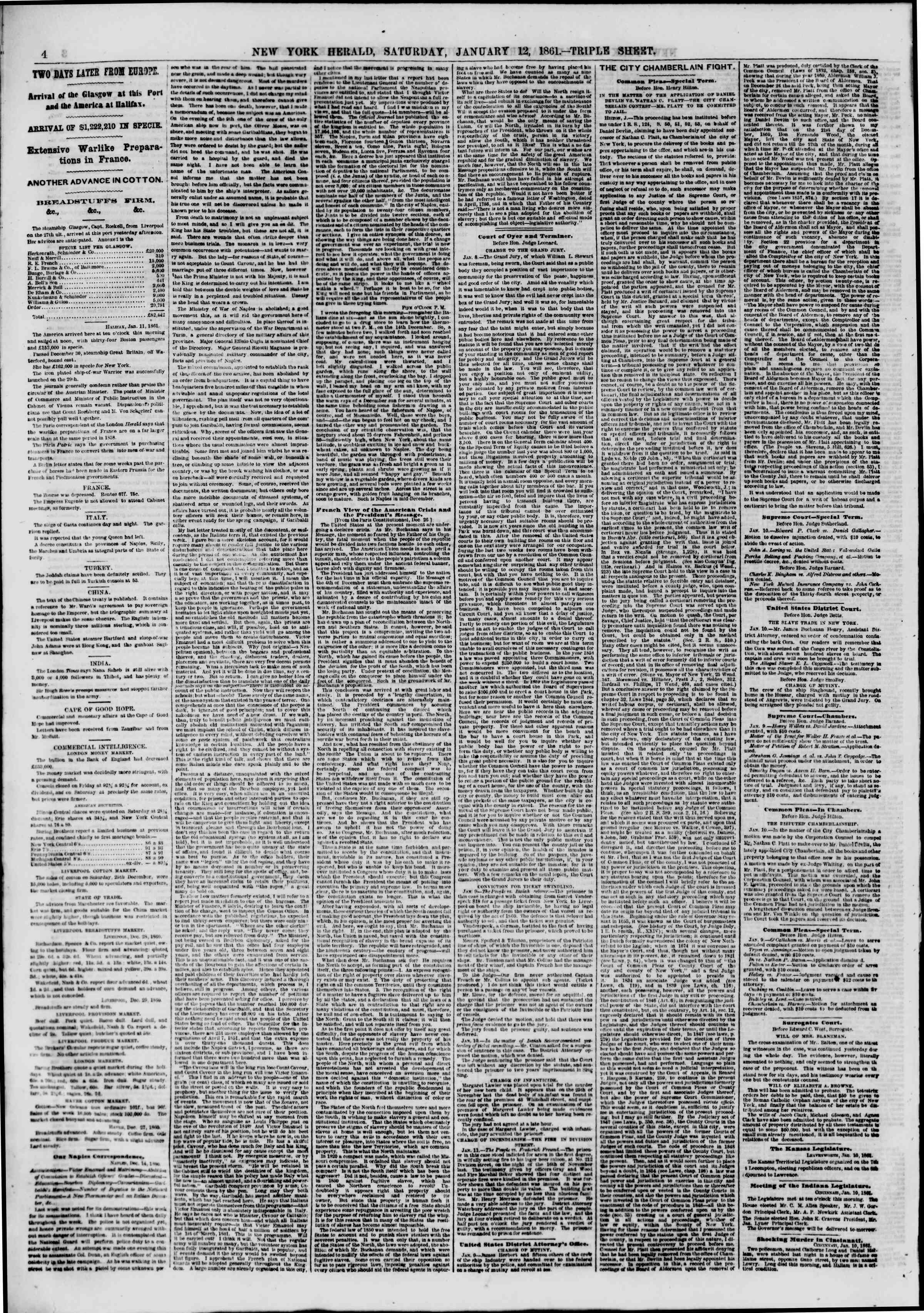Newspaper of The New York Herald dated January 12, 1861 Page 4