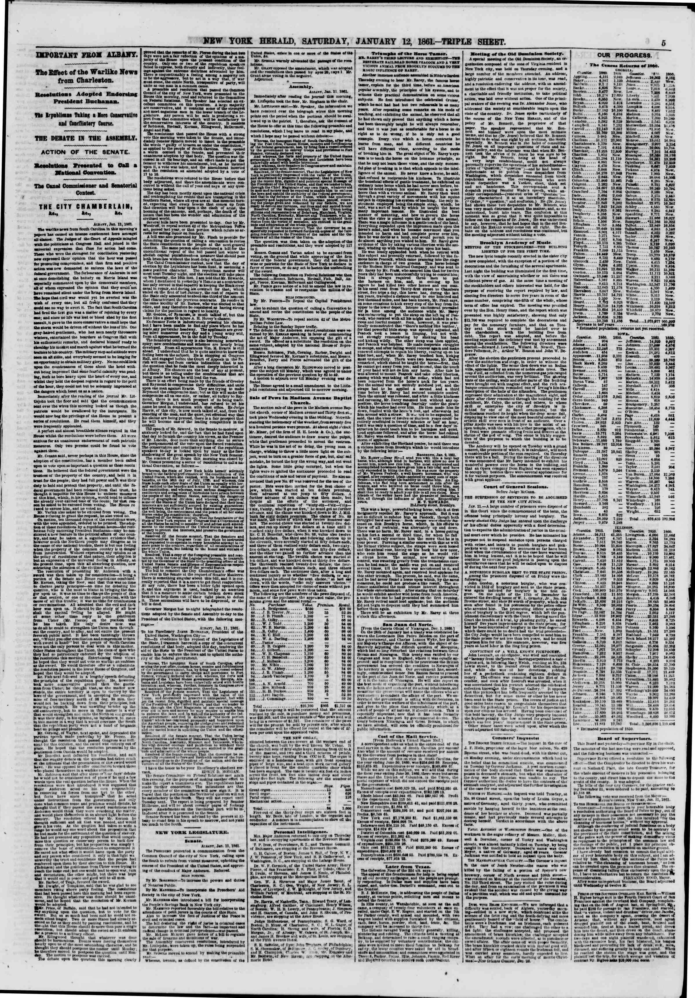 Newspaper of The New York Herald dated 12 Ocak 1861 Page 5