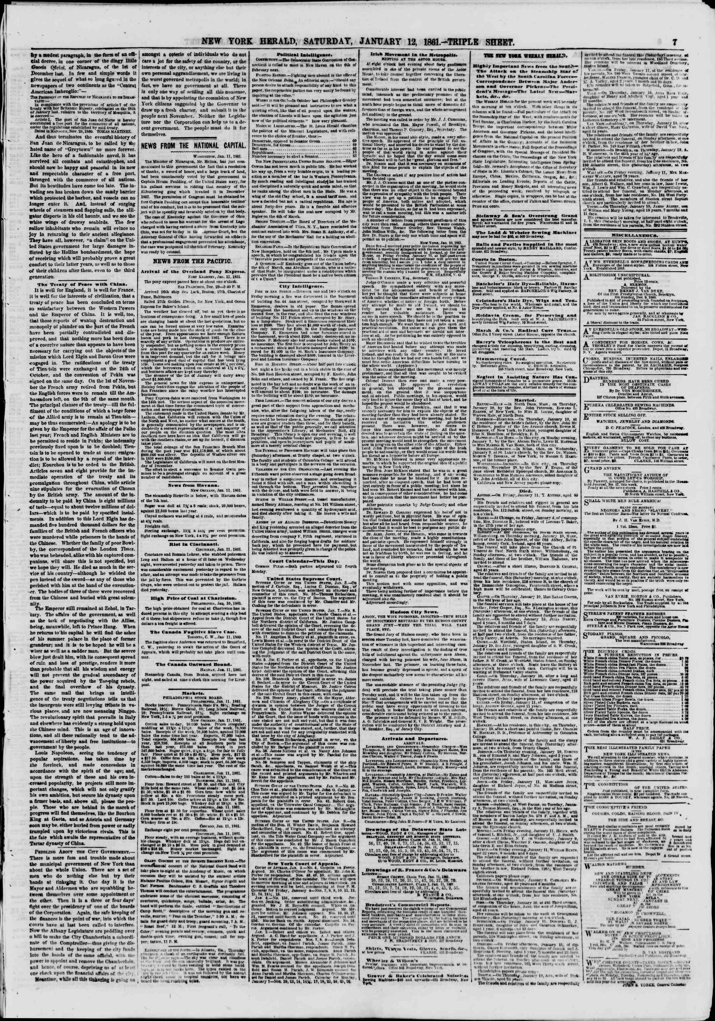 Newspaper of The New York Herald dated January 12, 1861 Page 7