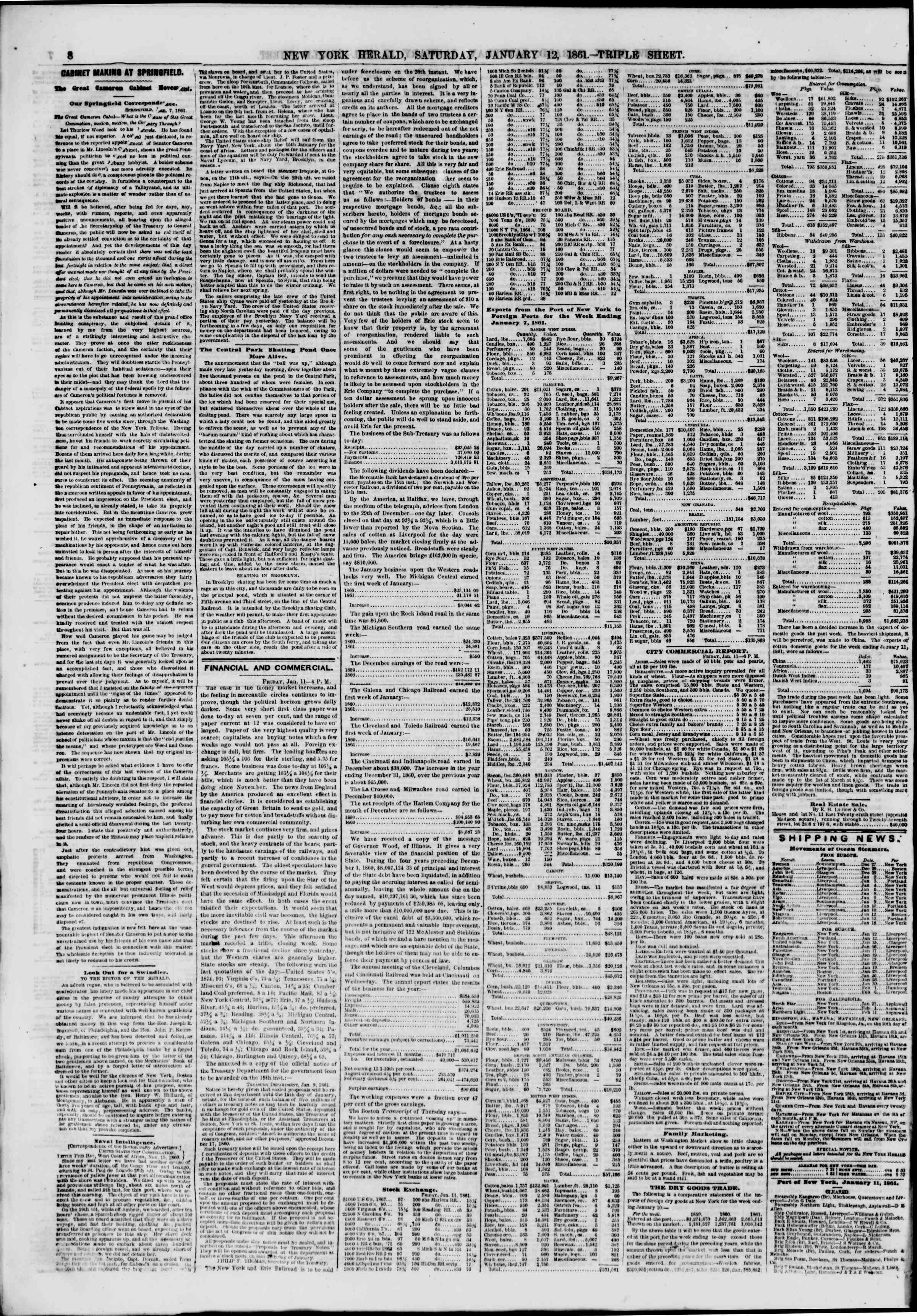 Newspaper of The New York Herald dated January 12, 1861 Page 8