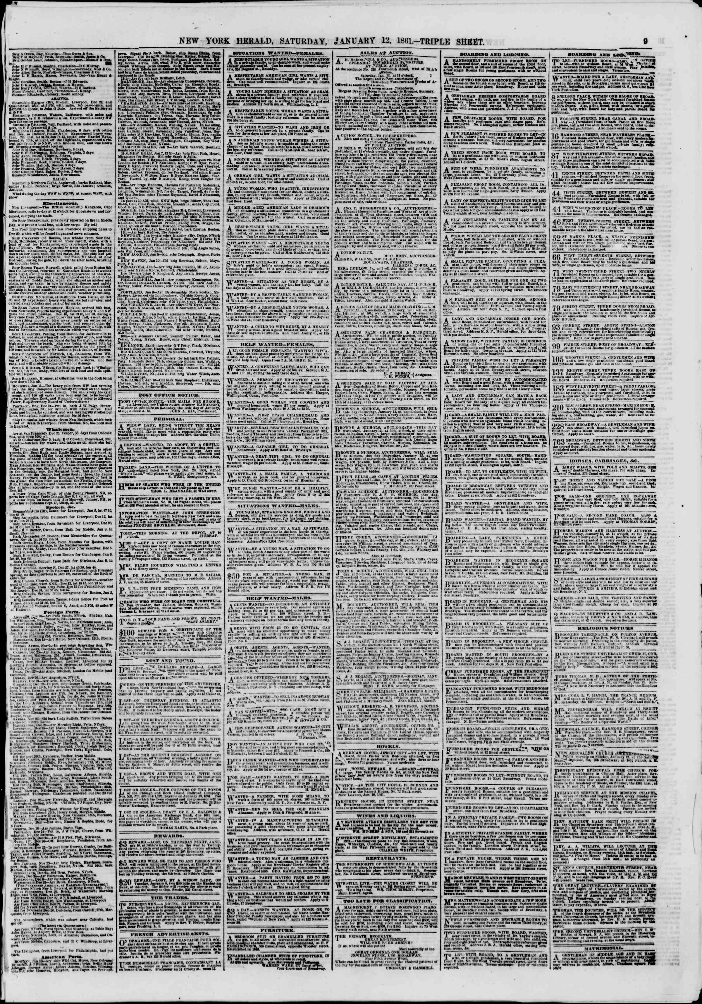 Newspaper of The New York Herald dated January 12, 1861 Page 9