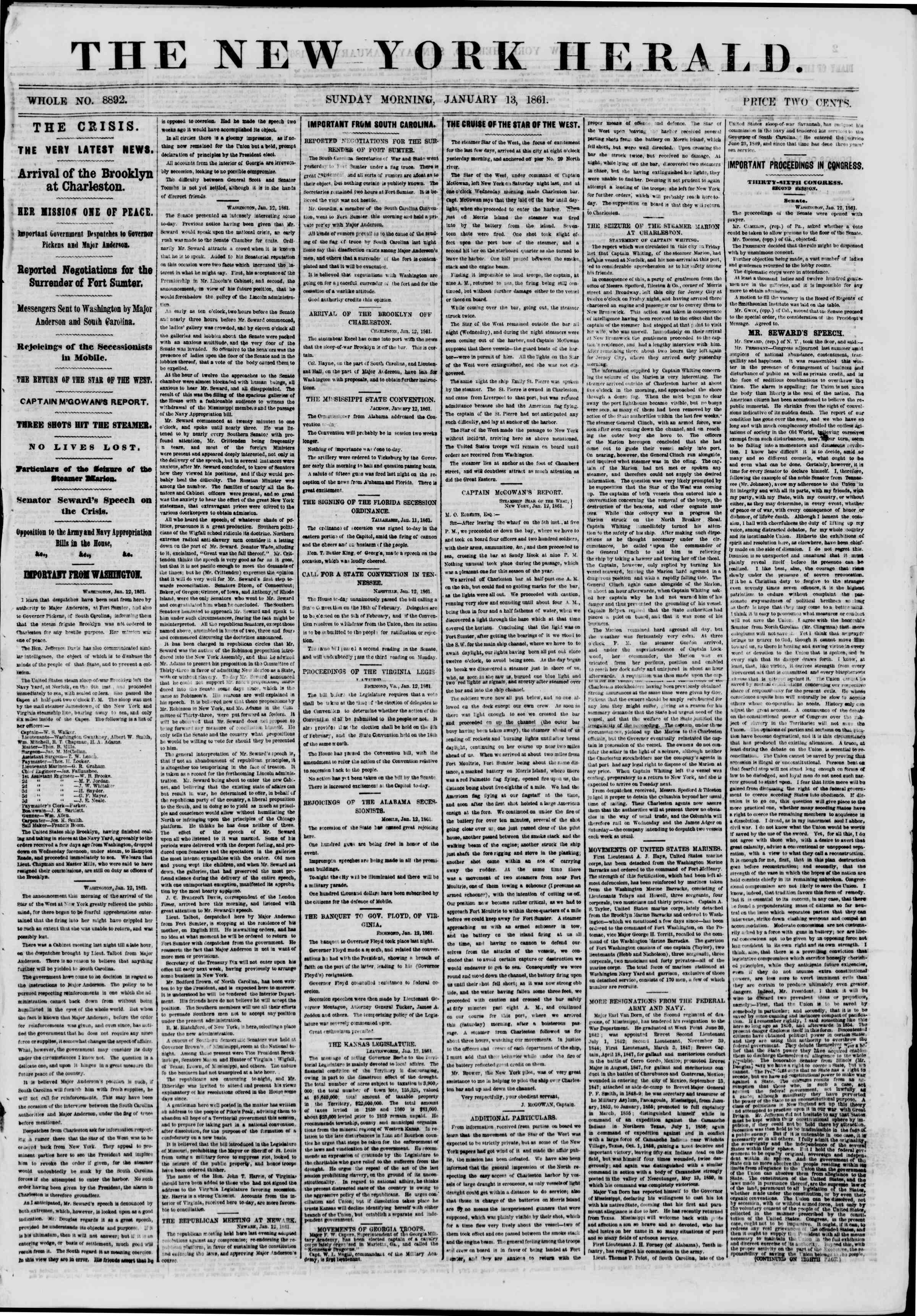 Newspaper of The New York Herald dated January 13, 1861 Page 1