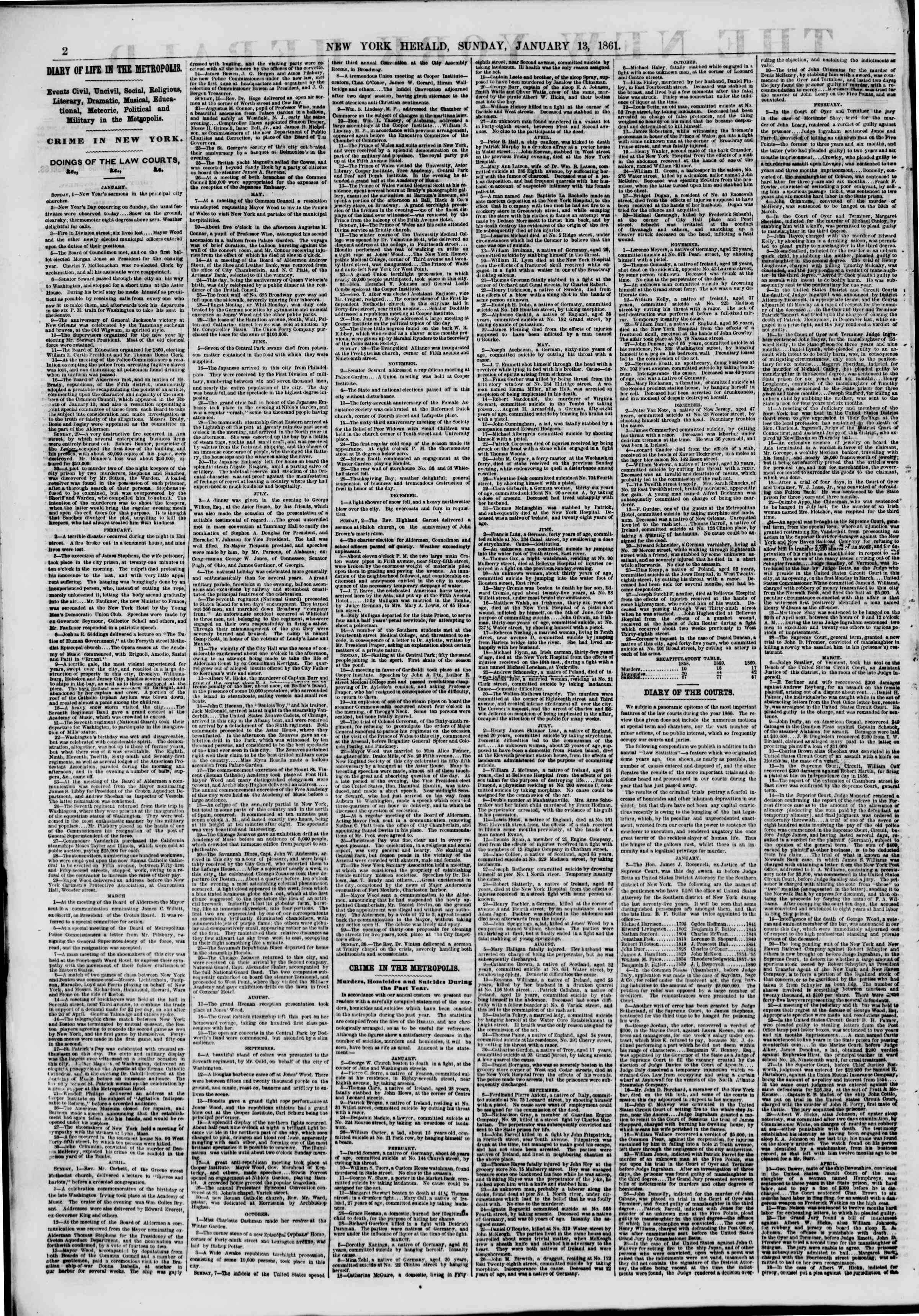 Newspaper of The New York Herald dated January 13, 1861 Page 2