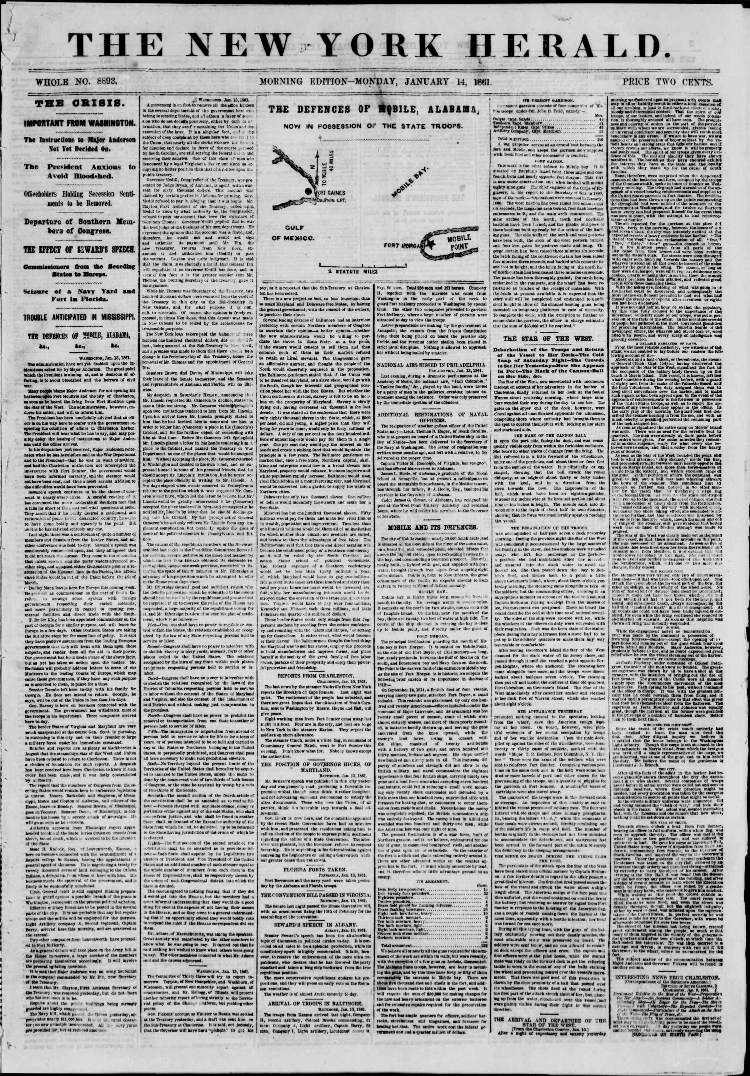 Newspaper of The New York Herald dated January 14, 1861 Page 1