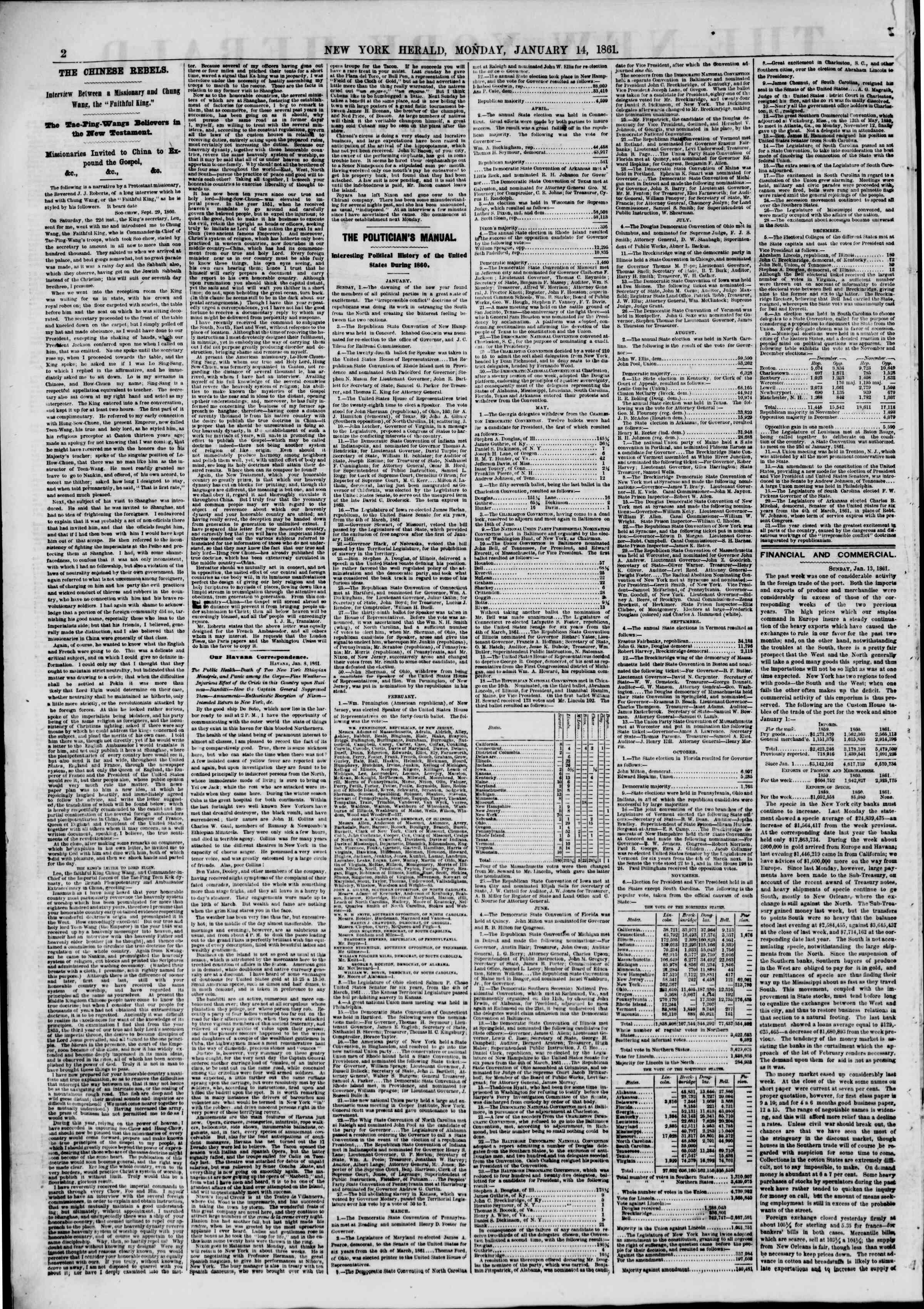 14 Ocak 1861 tarihli The New York Herald Gazetesi Sayfa 2