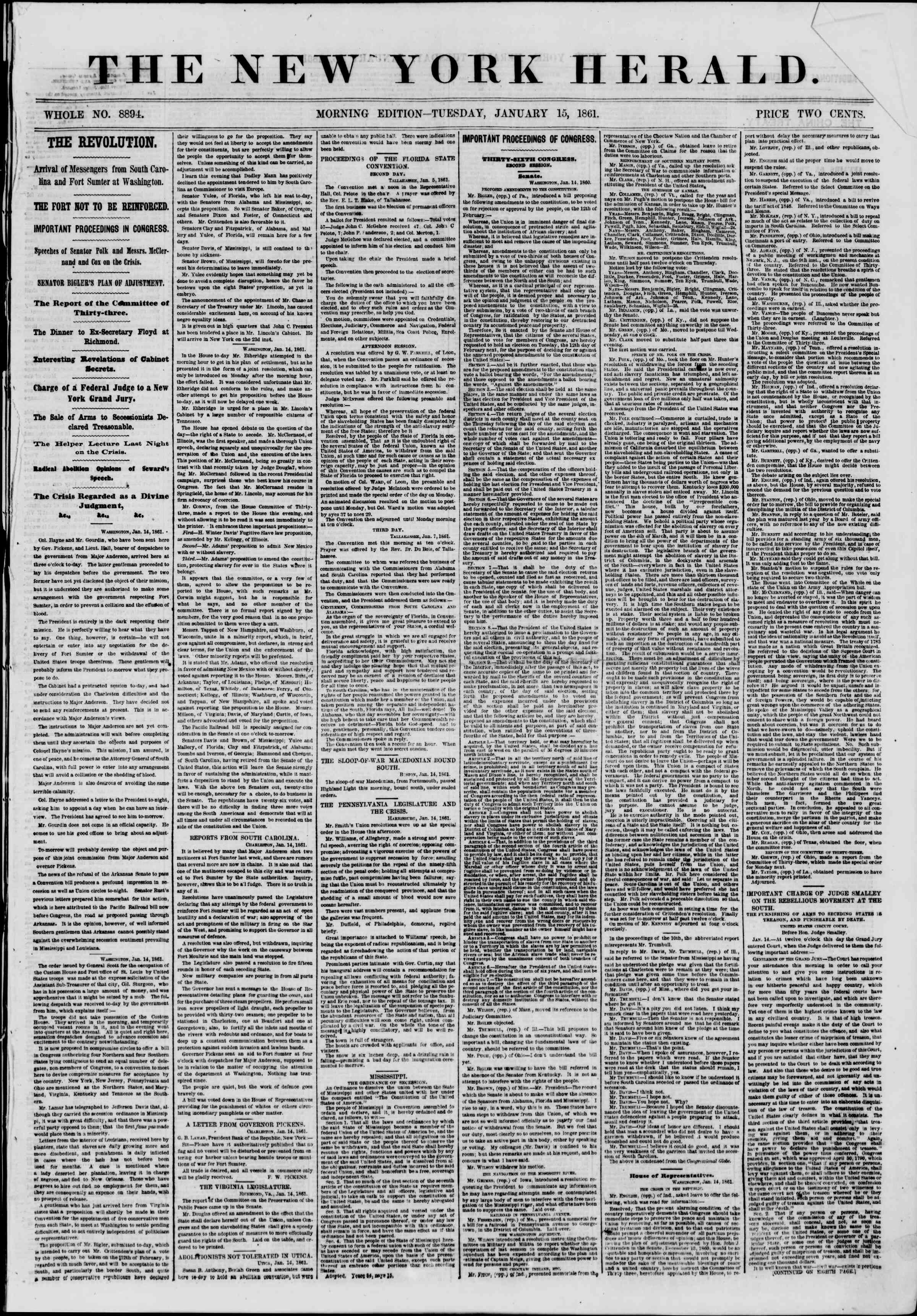 Newspaper of The New York Herald dated January 15, 1861 Page 1