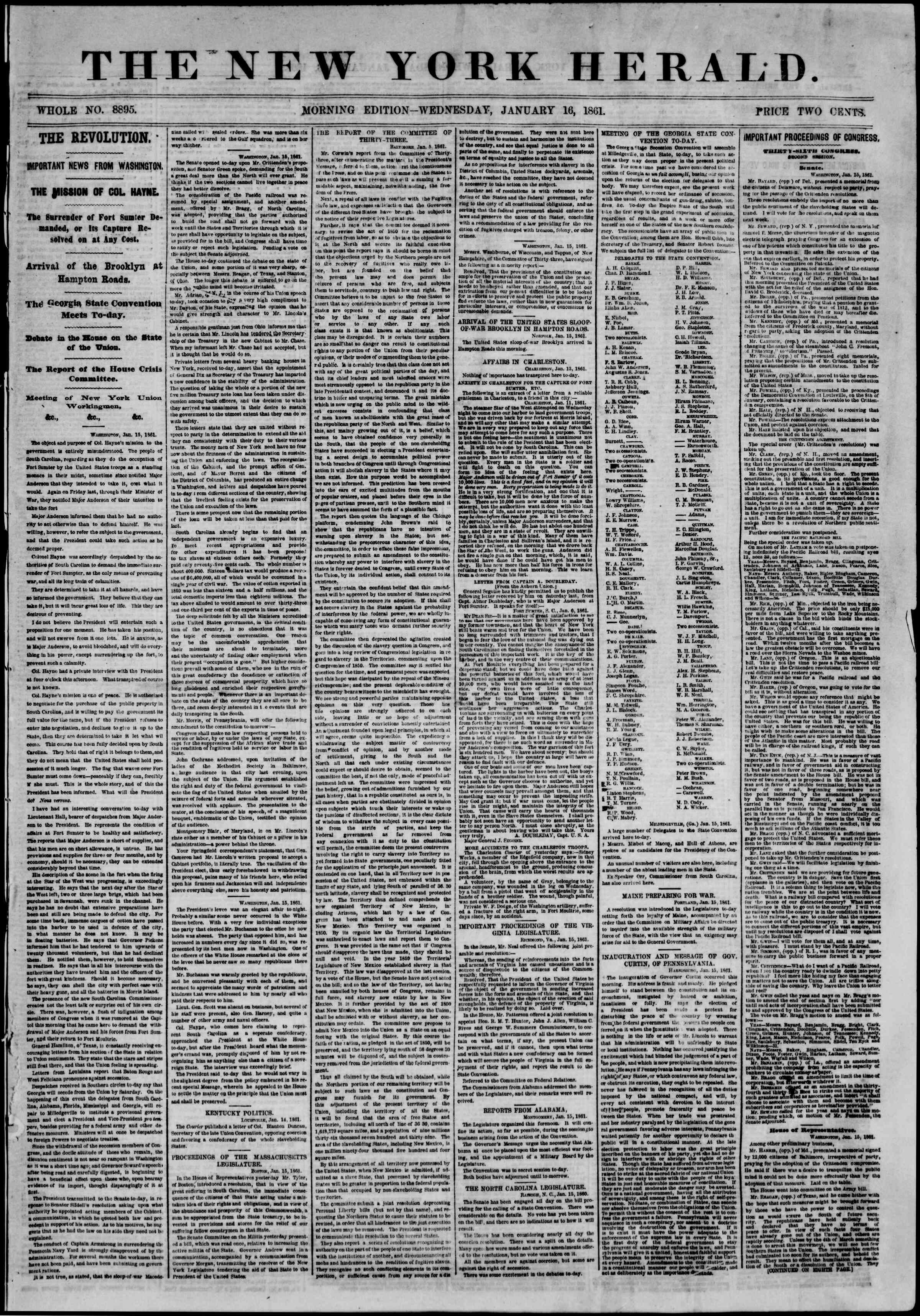 Newspaper of The New York Herald dated January 16, 1861 Page 1