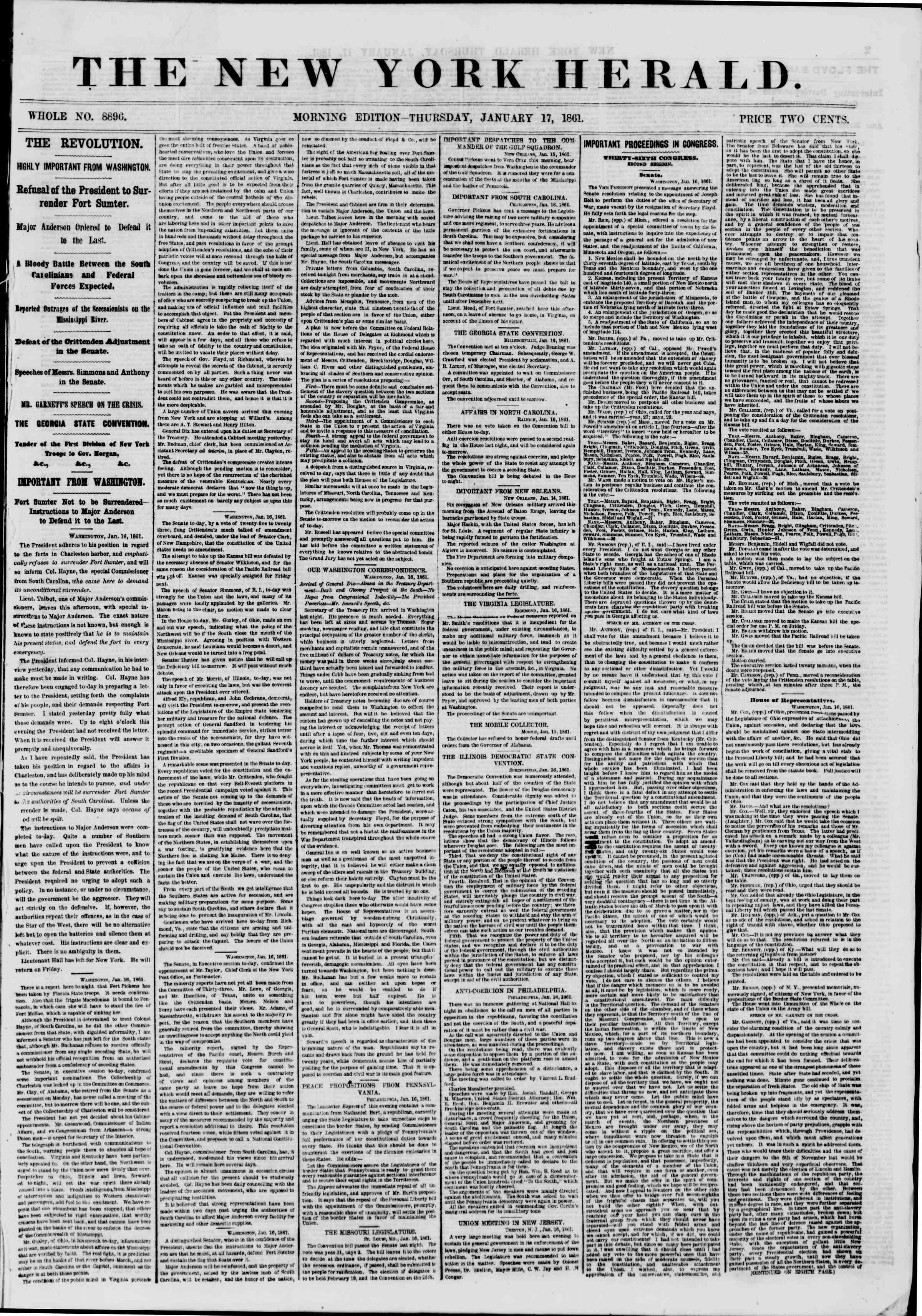 Newspaper of The New York Herald dated January 17, 1861 Page 1