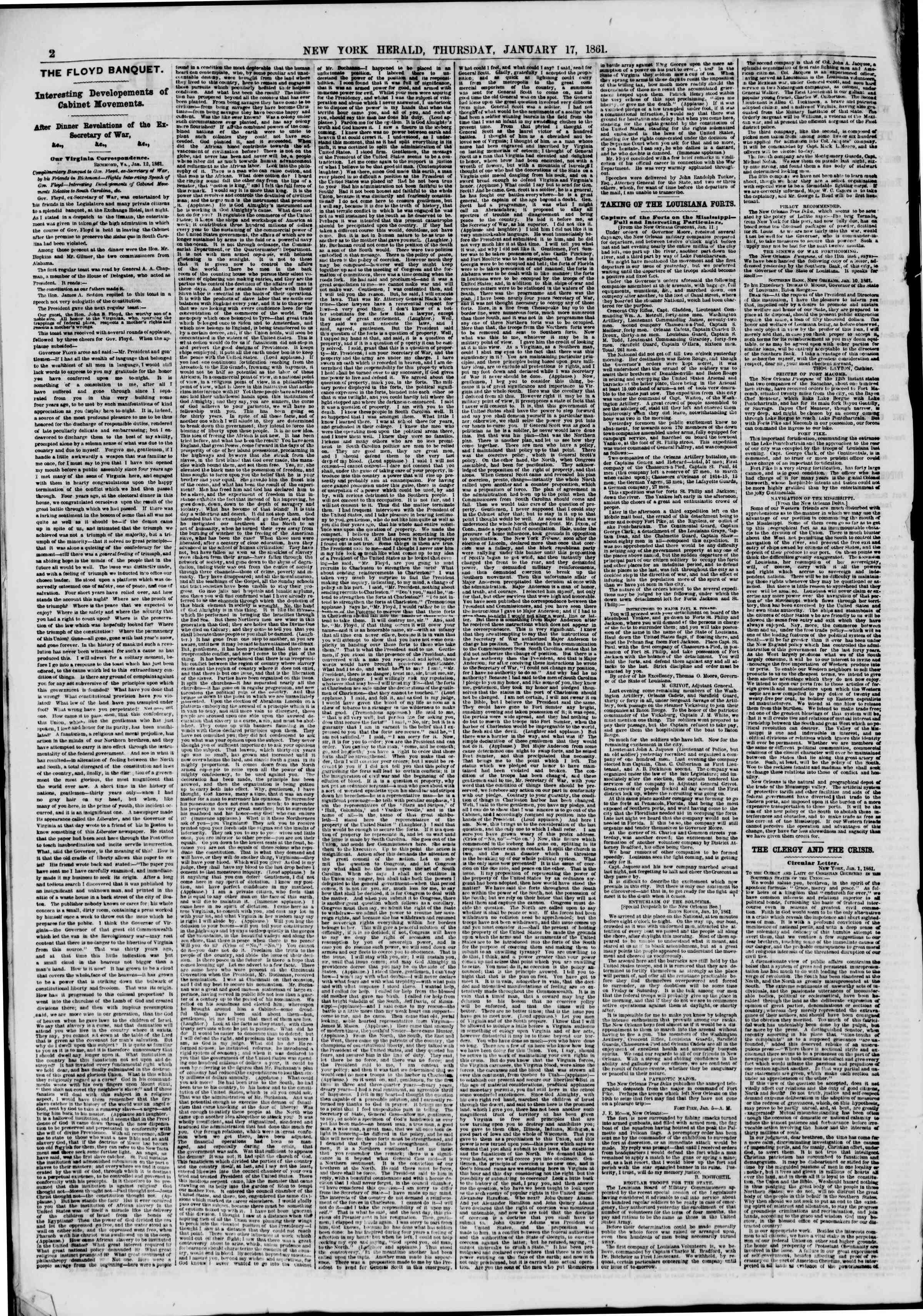 Newspaper of The New York Herald dated January 17, 1861 Page 2