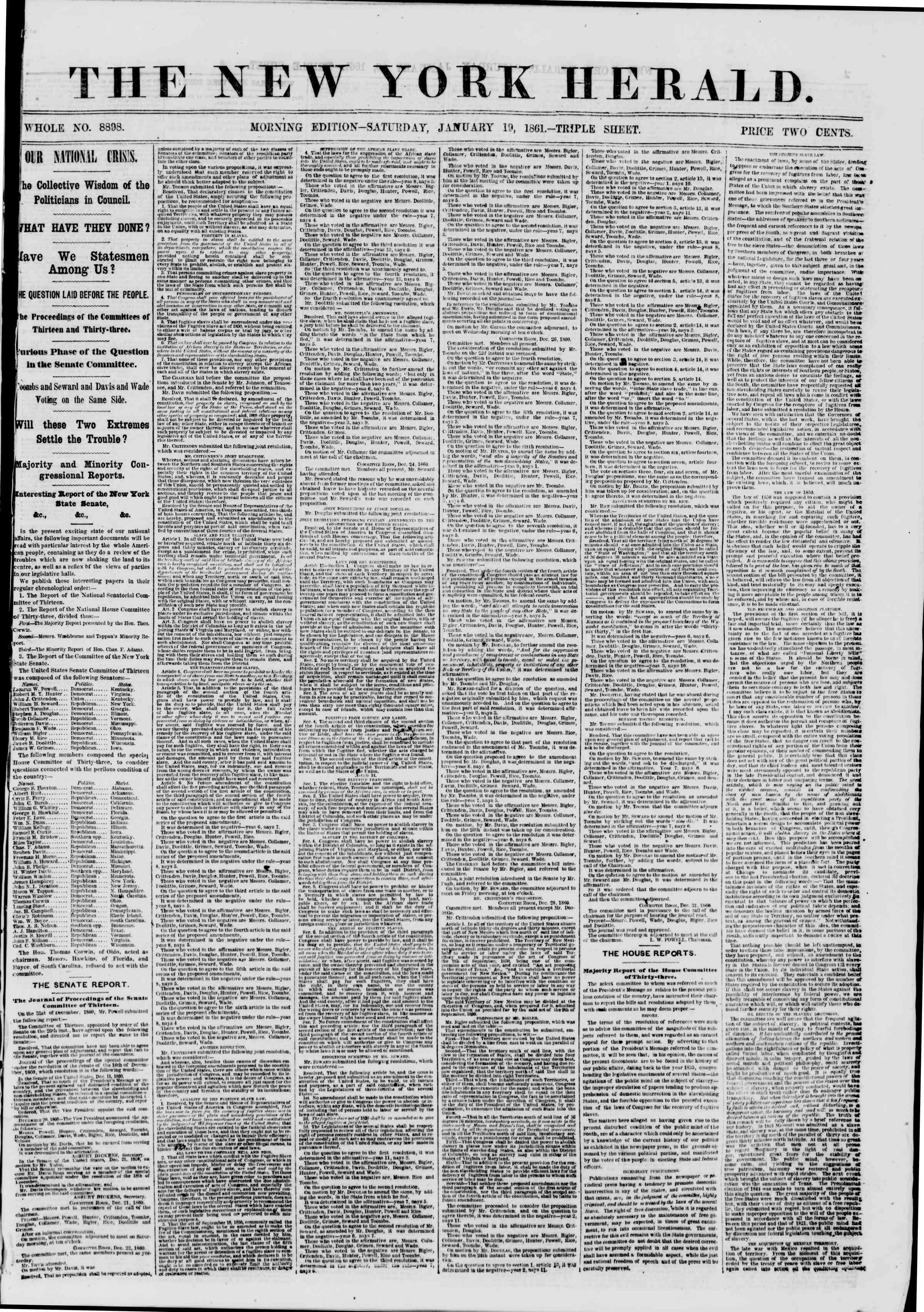Newspaper of The New York Herald dated January 19, 1861 Page 1