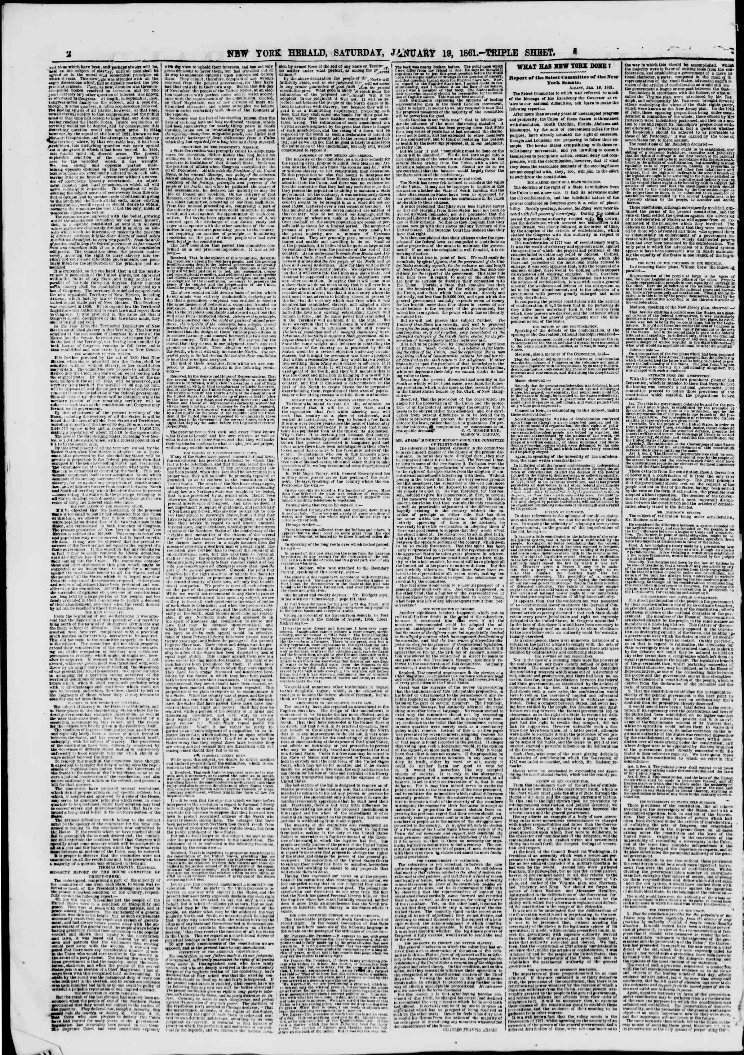 Newspaper of The New York Herald dated January 19, 1861 Page 2