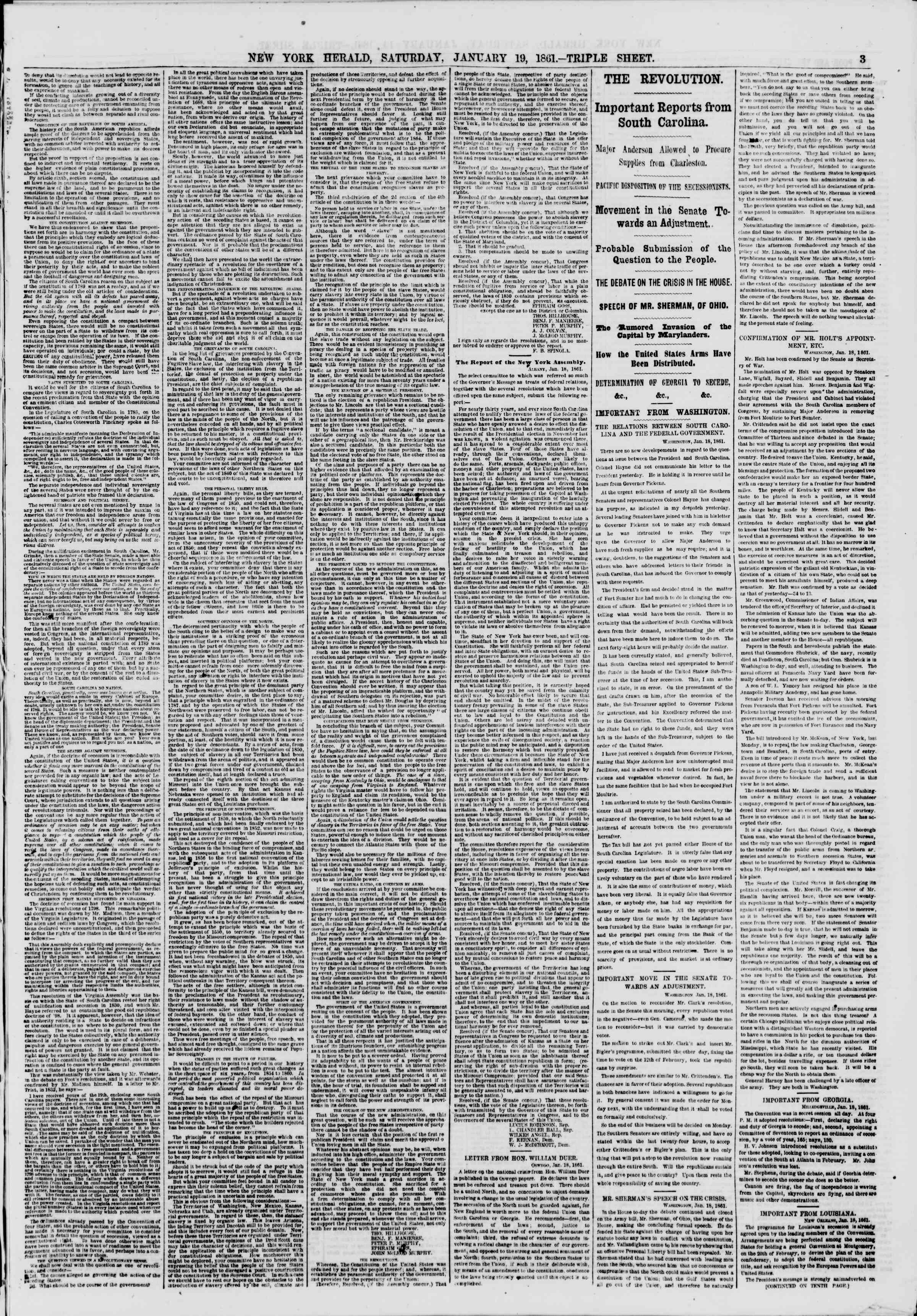 Newspaper of The New York Herald dated January 19, 1861 Page 3