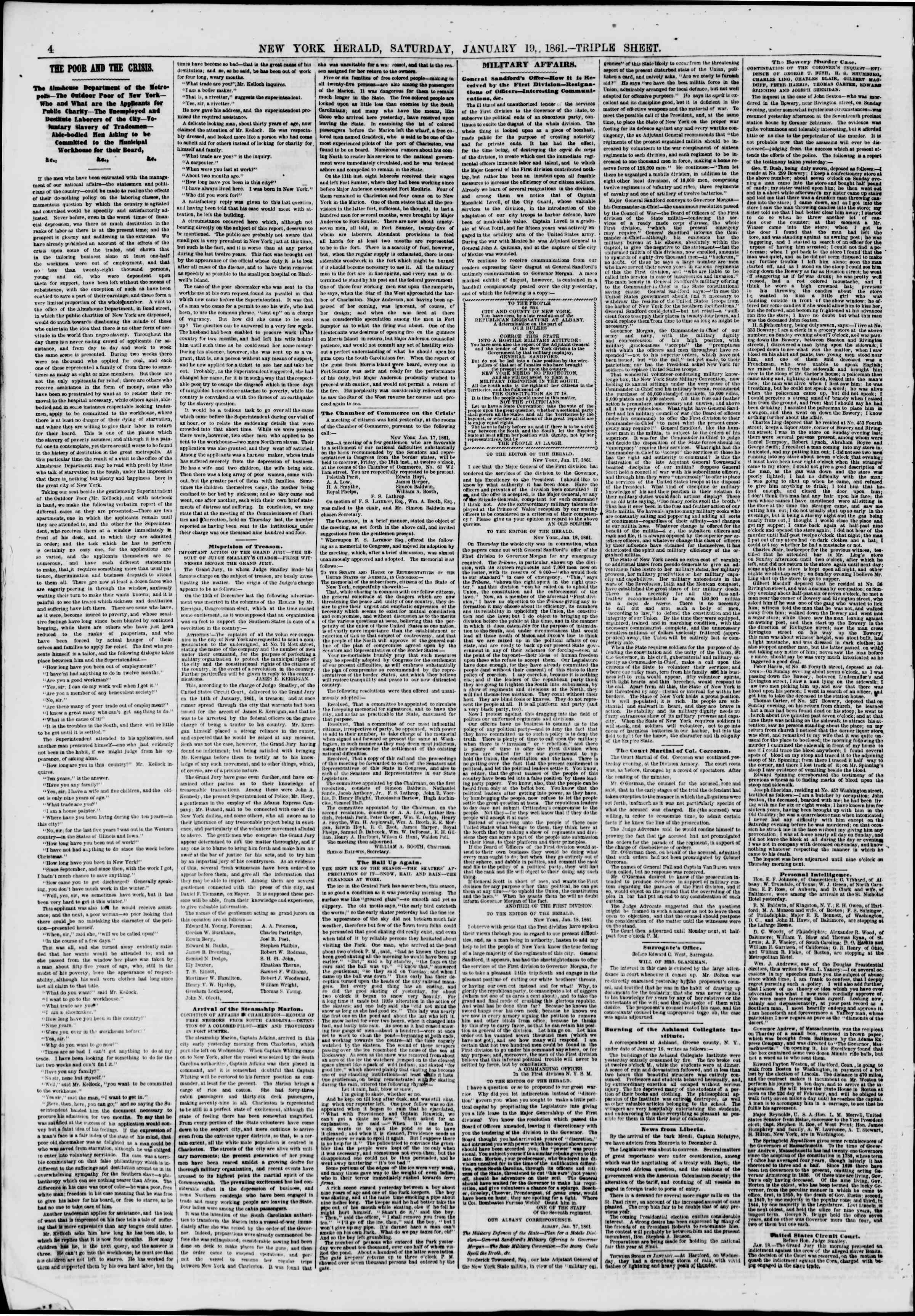 Newspaper of The New York Herald dated 19 Ocak 1861 Page 4