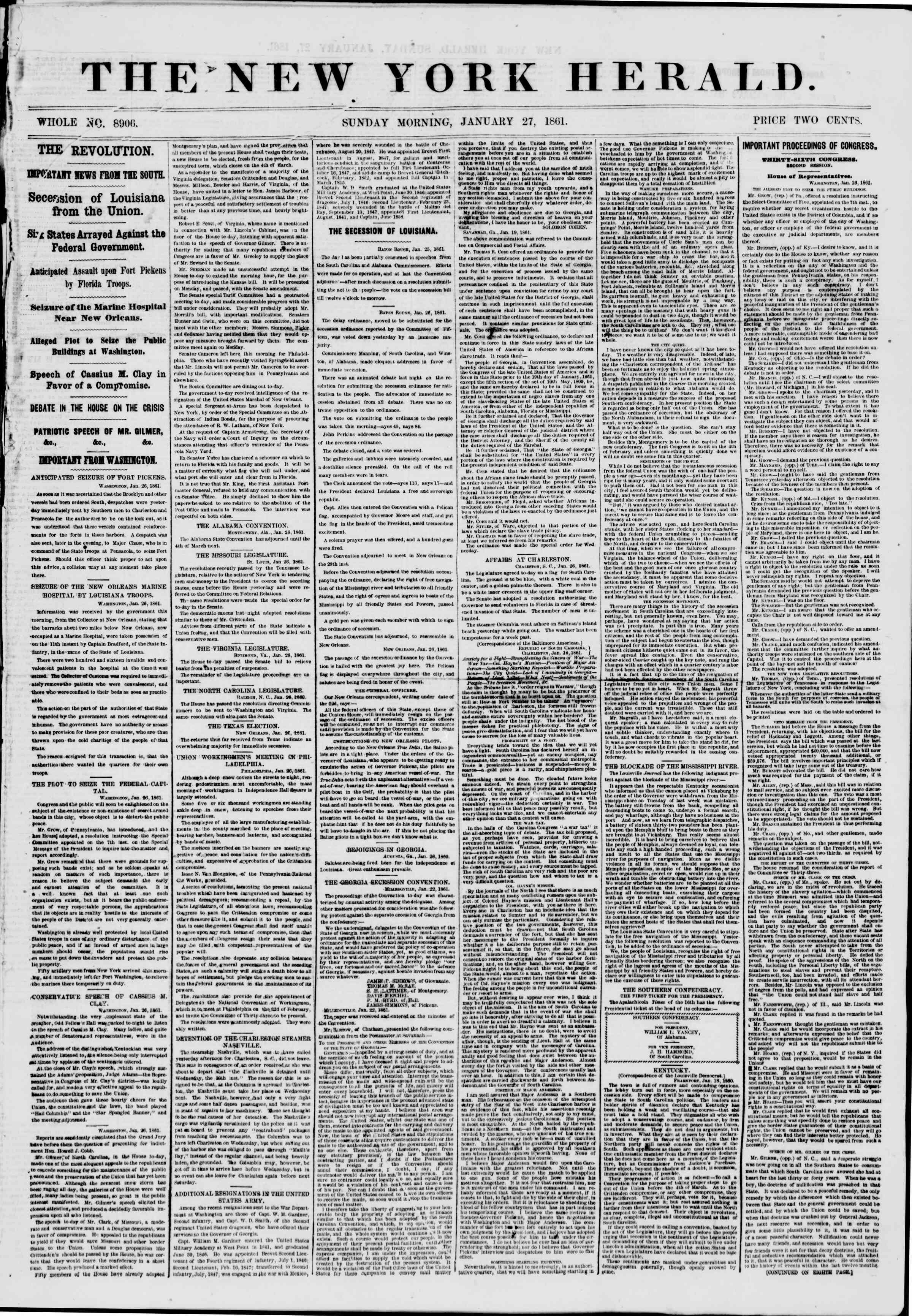 Newspaper of The New York Herald dated January 27, 1861 Page 1