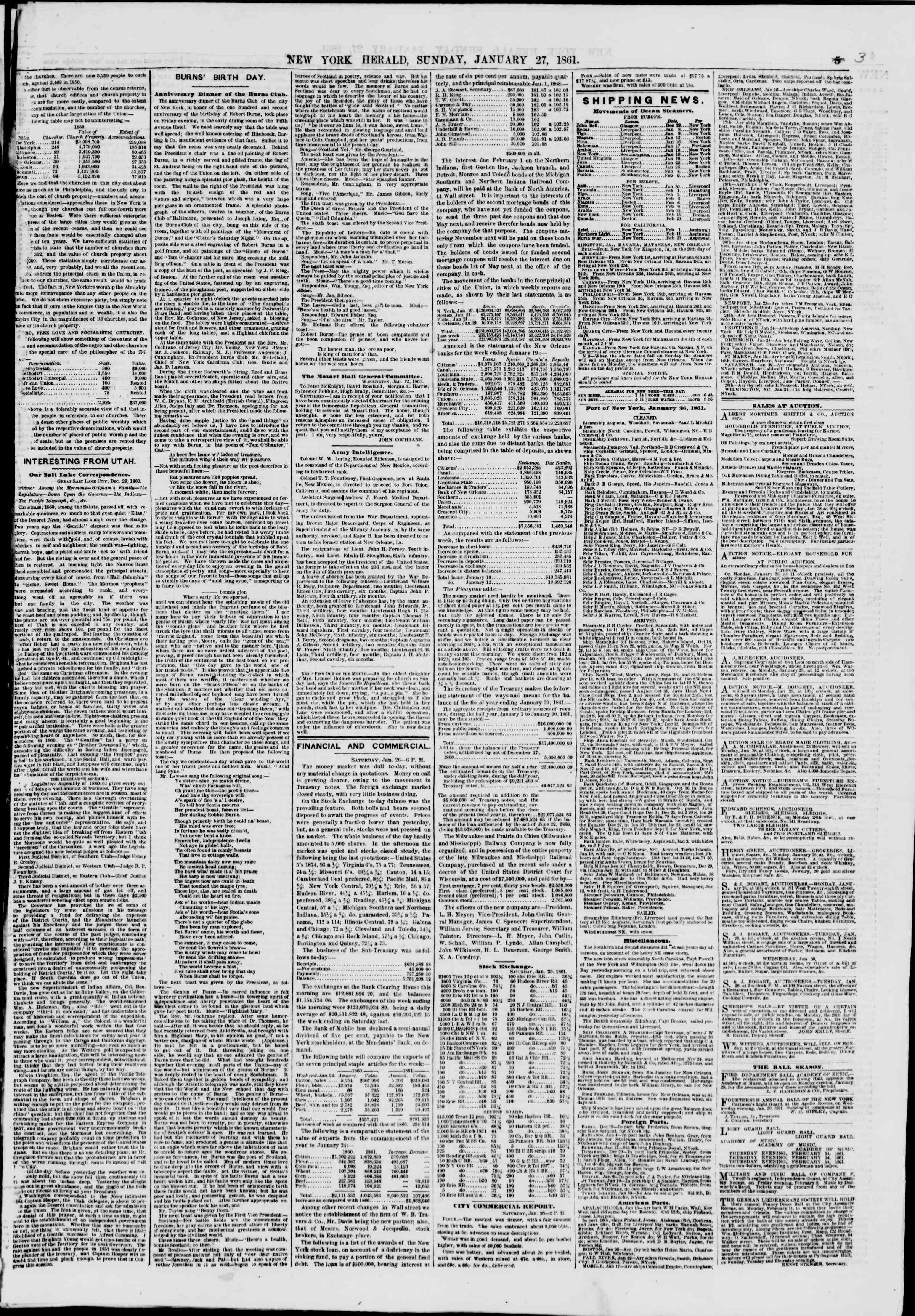 Newspaper of The New York Herald dated January 27, 1861 Page 3
