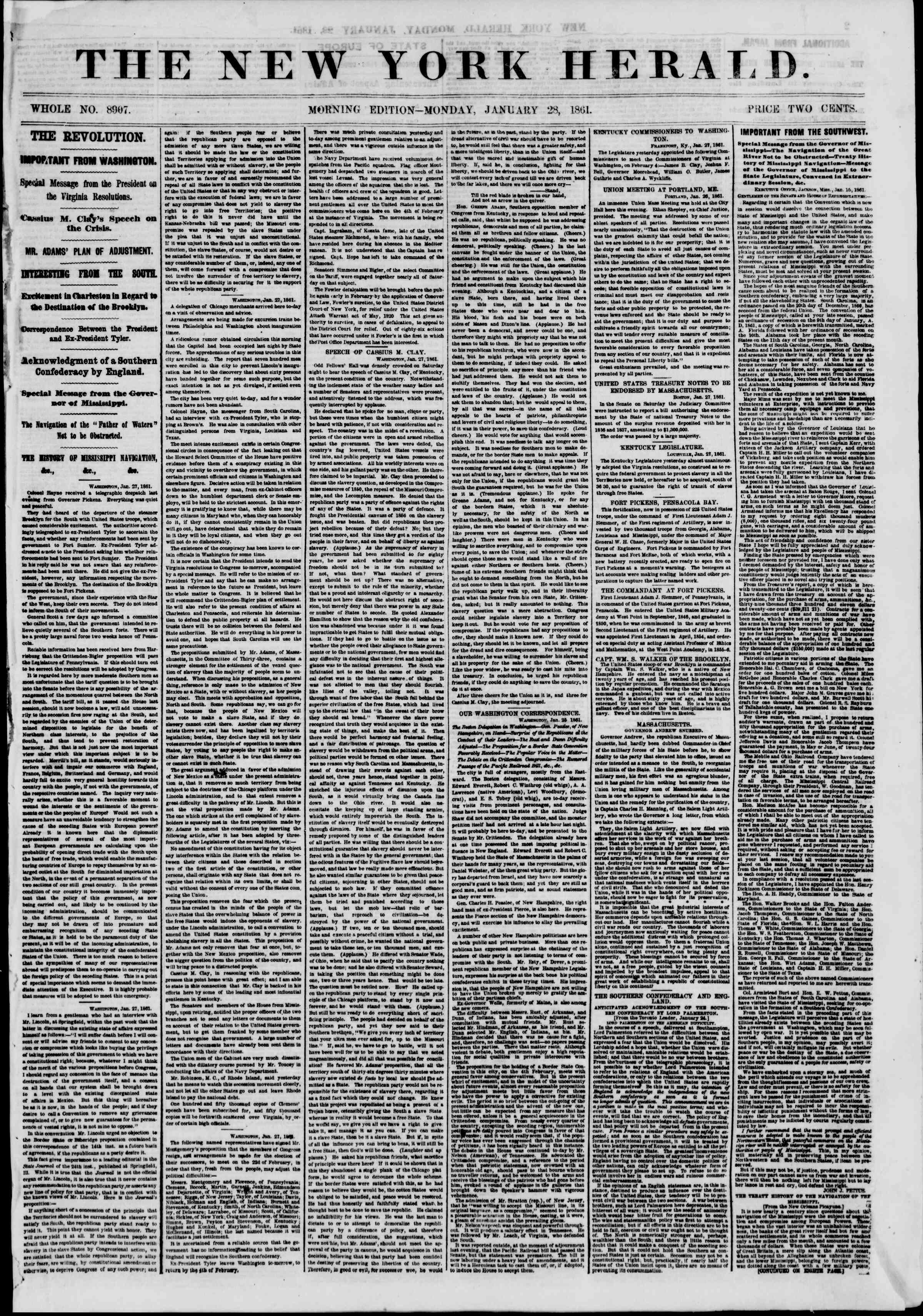Newspaper of The New York Herald dated January 28, 1861 Page 1