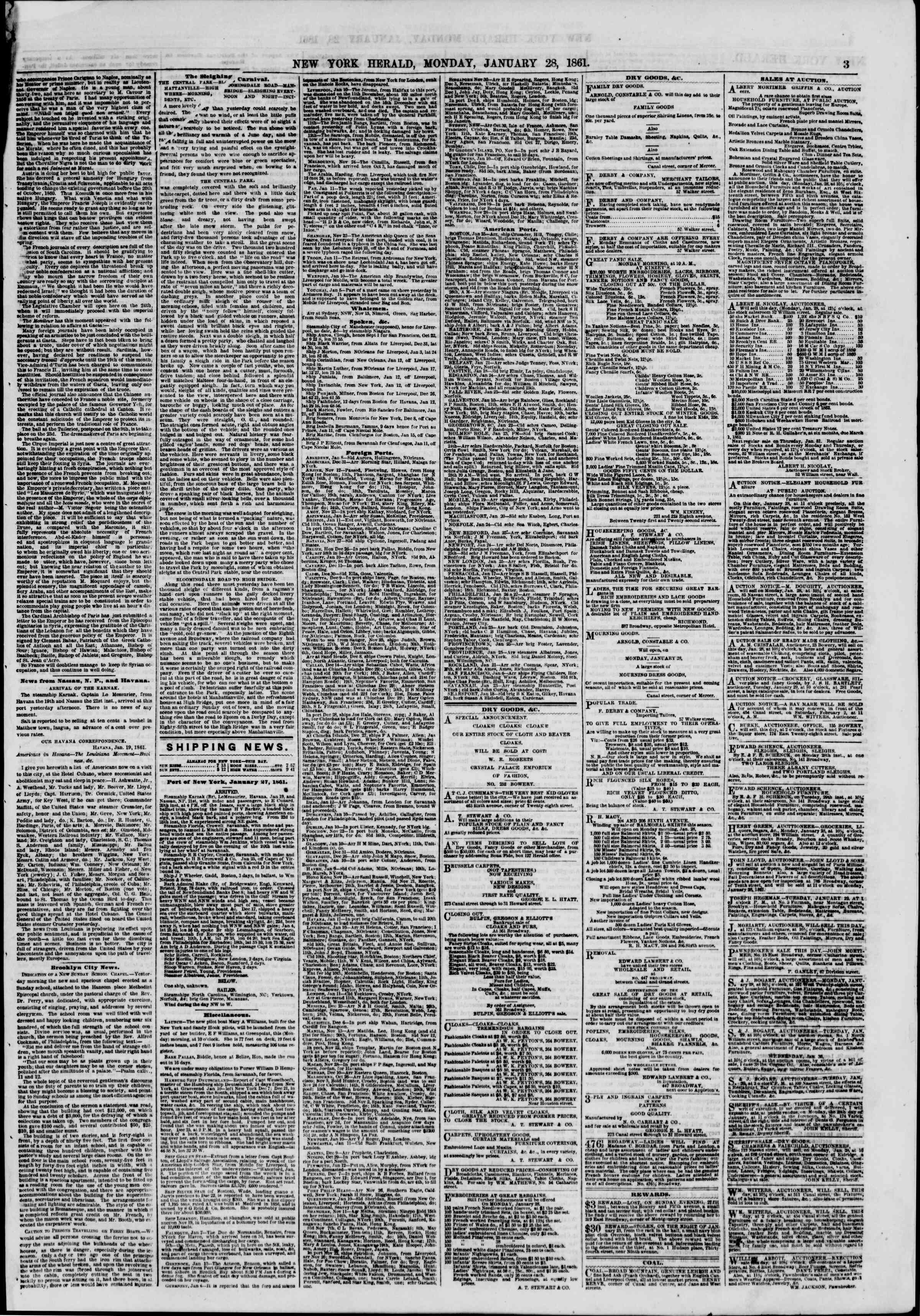 Newspaper of The New York Herald dated January 28, 1861 Page 3