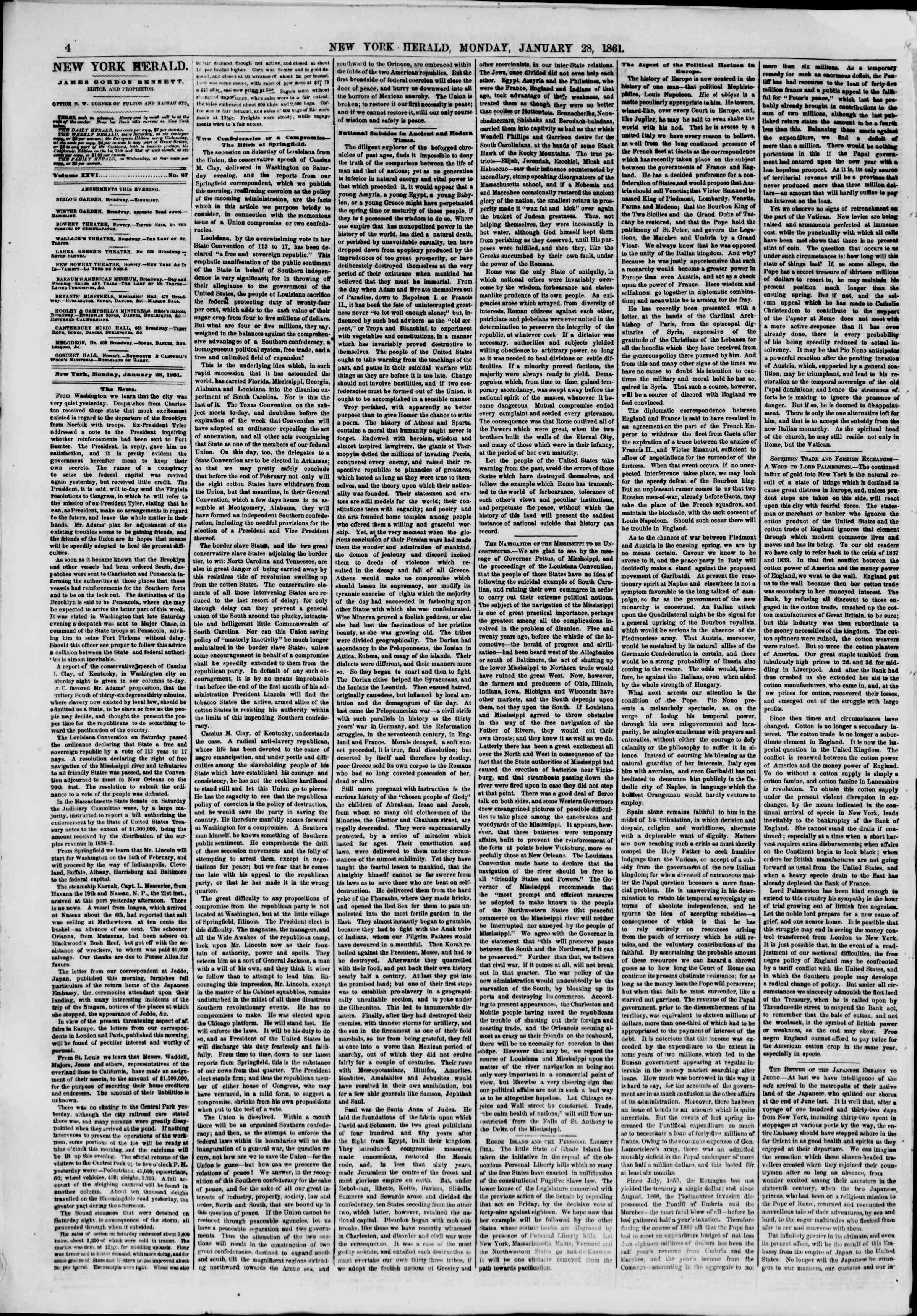 Newspaper of The New York Herald dated January 28, 1861 Page 4