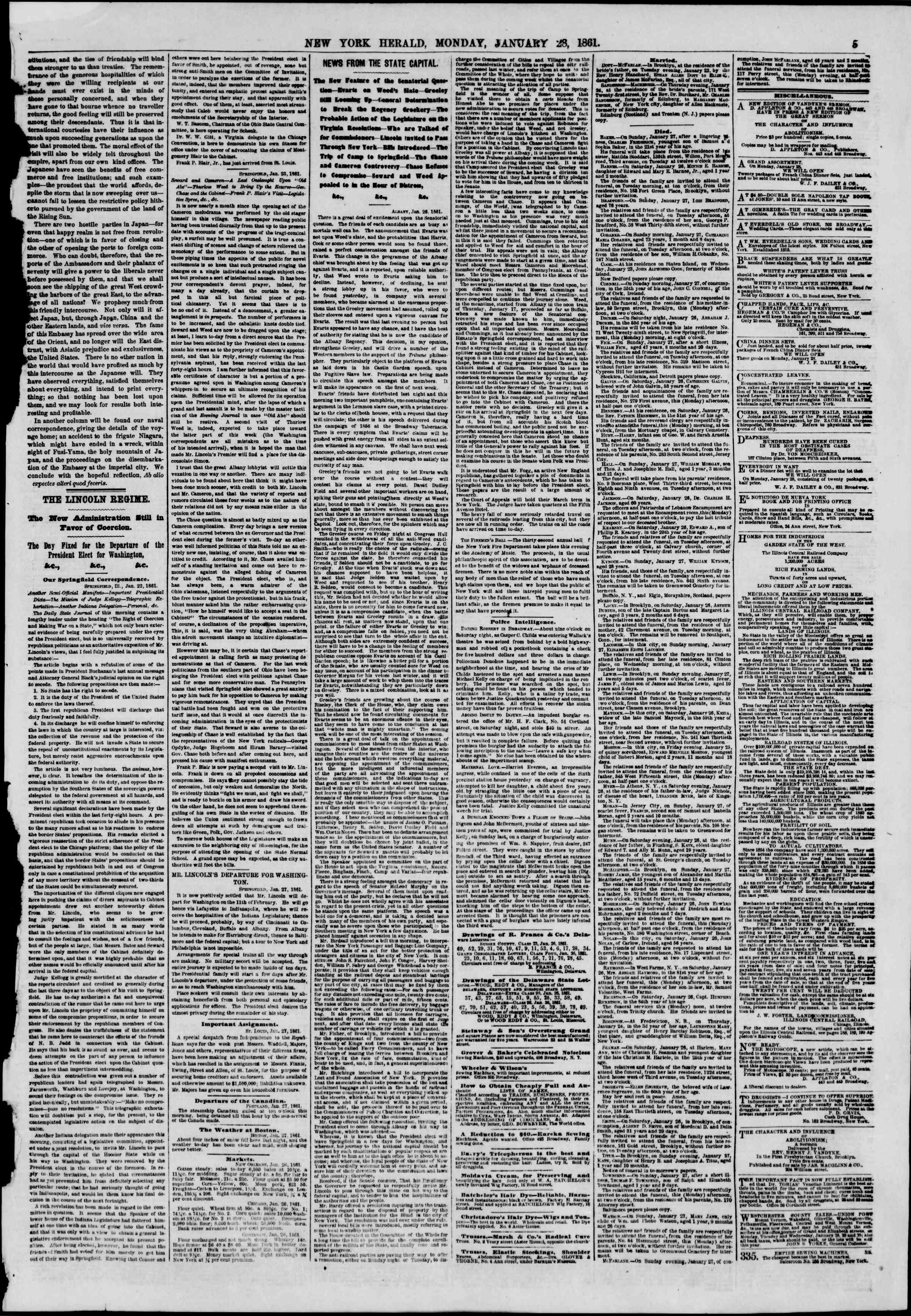 Newspaper of The New York Herald dated January 28, 1861 Page 5