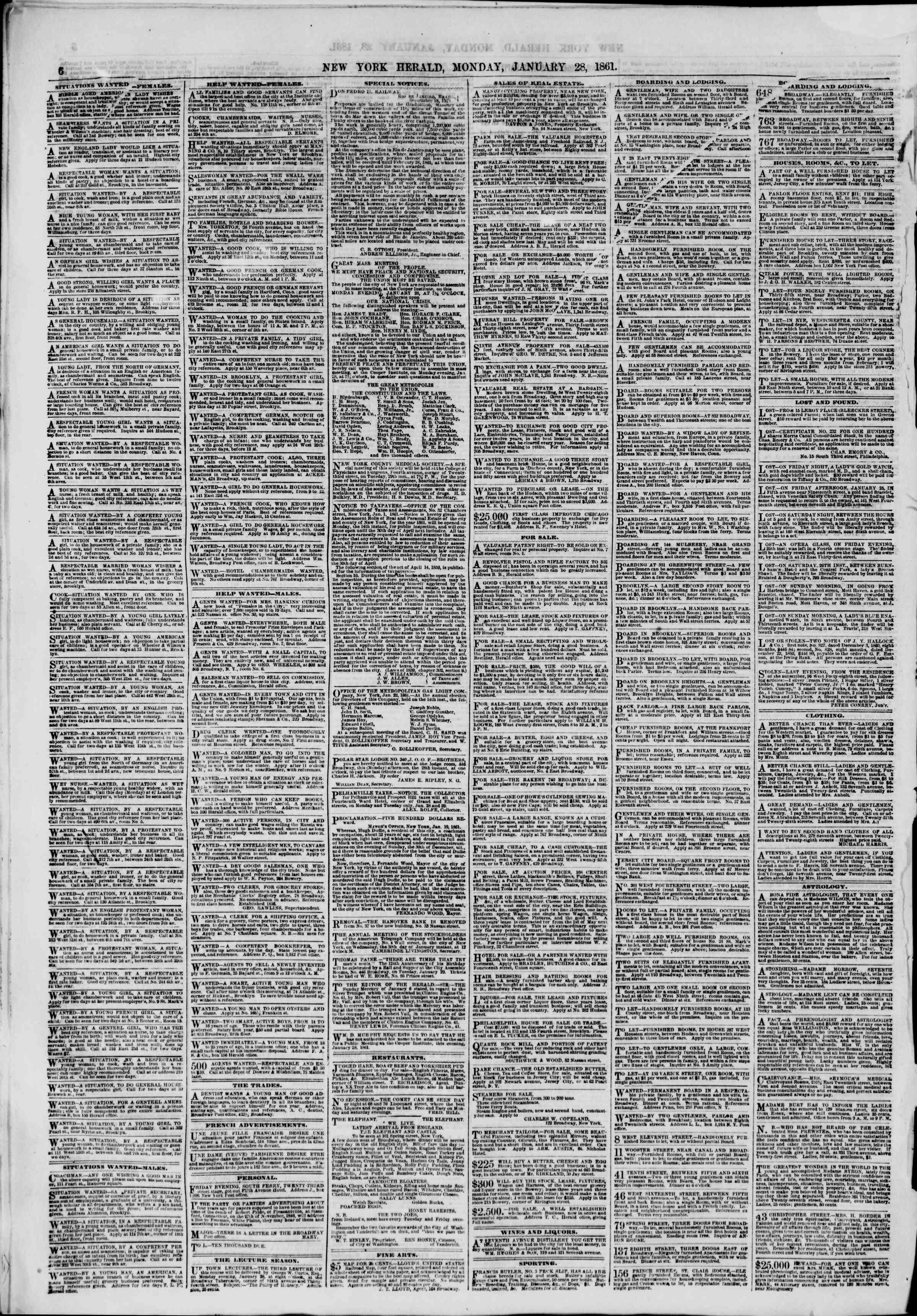 Newspaper of The New York Herald dated January 28, 1861 Page 6