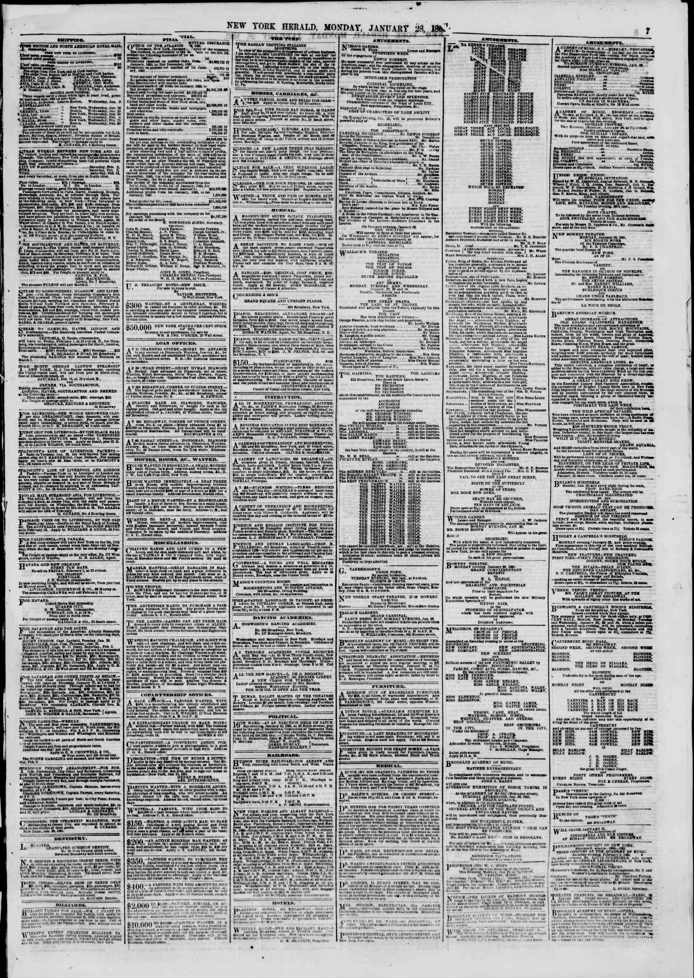 Newspaper of The New York Herald dated January 28, 1861 Page 7