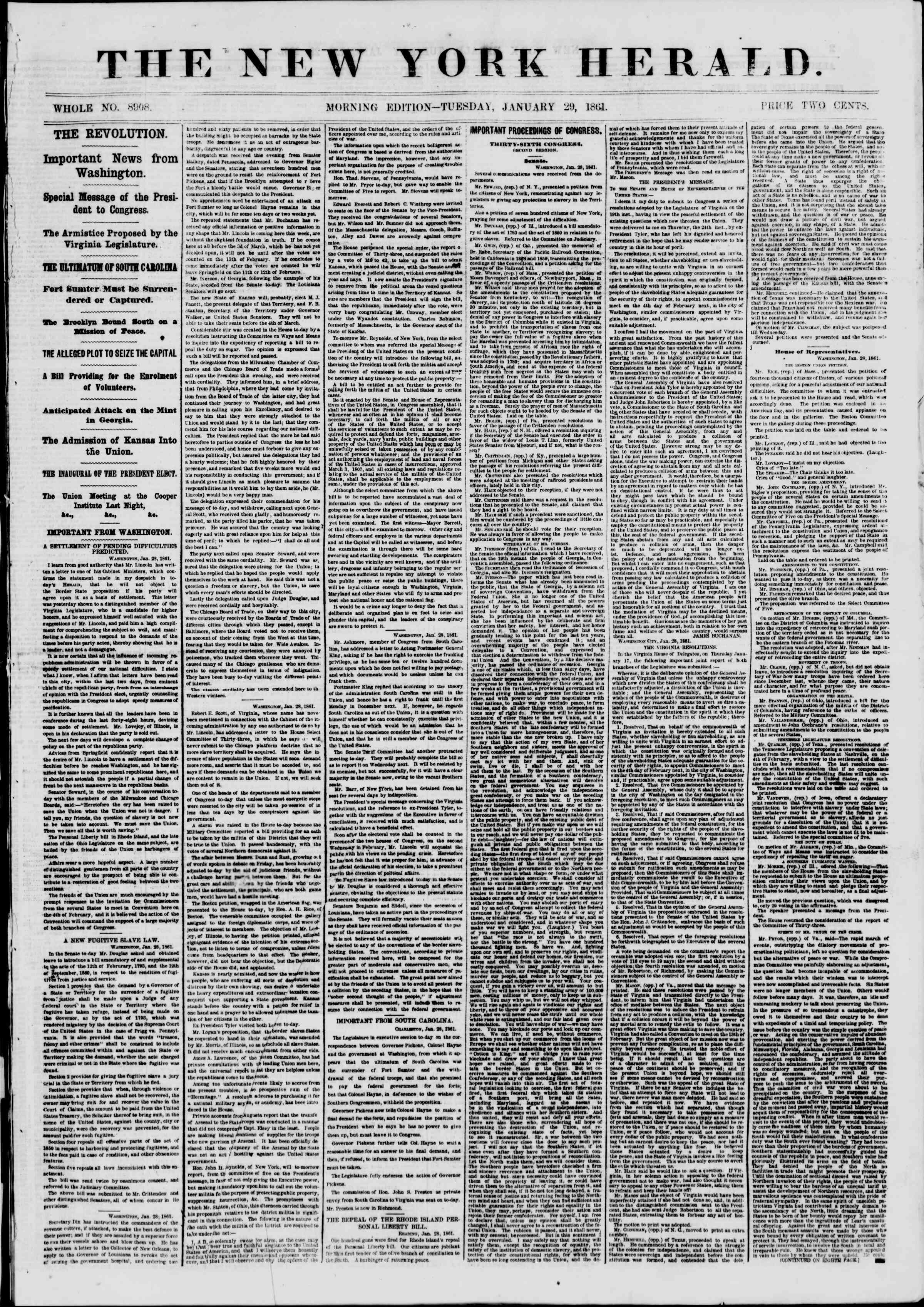 Newspaper of The New York Herald dated January 29, 1861 Page 1