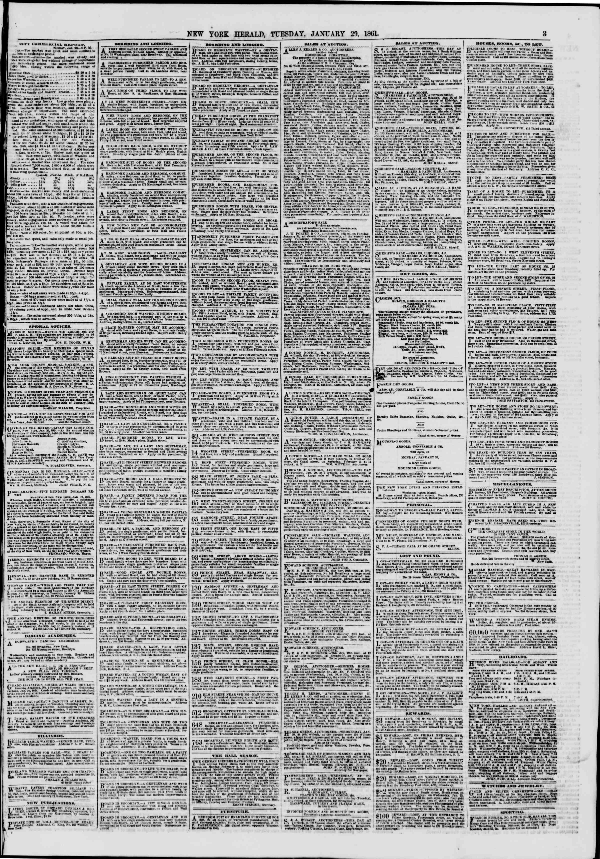 Newspaper of The New York Herald dated January 29, 1861 Page 3